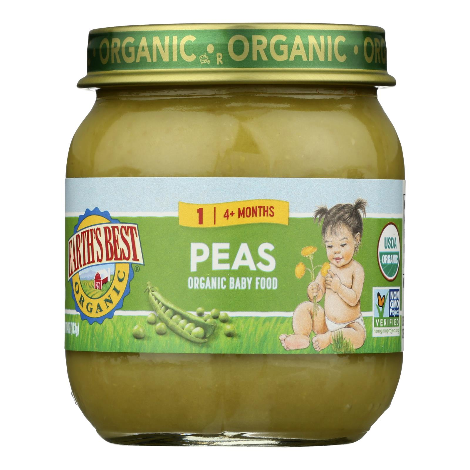 Earth's Best - Stage 2 Peas - Case of 10-4 OZ