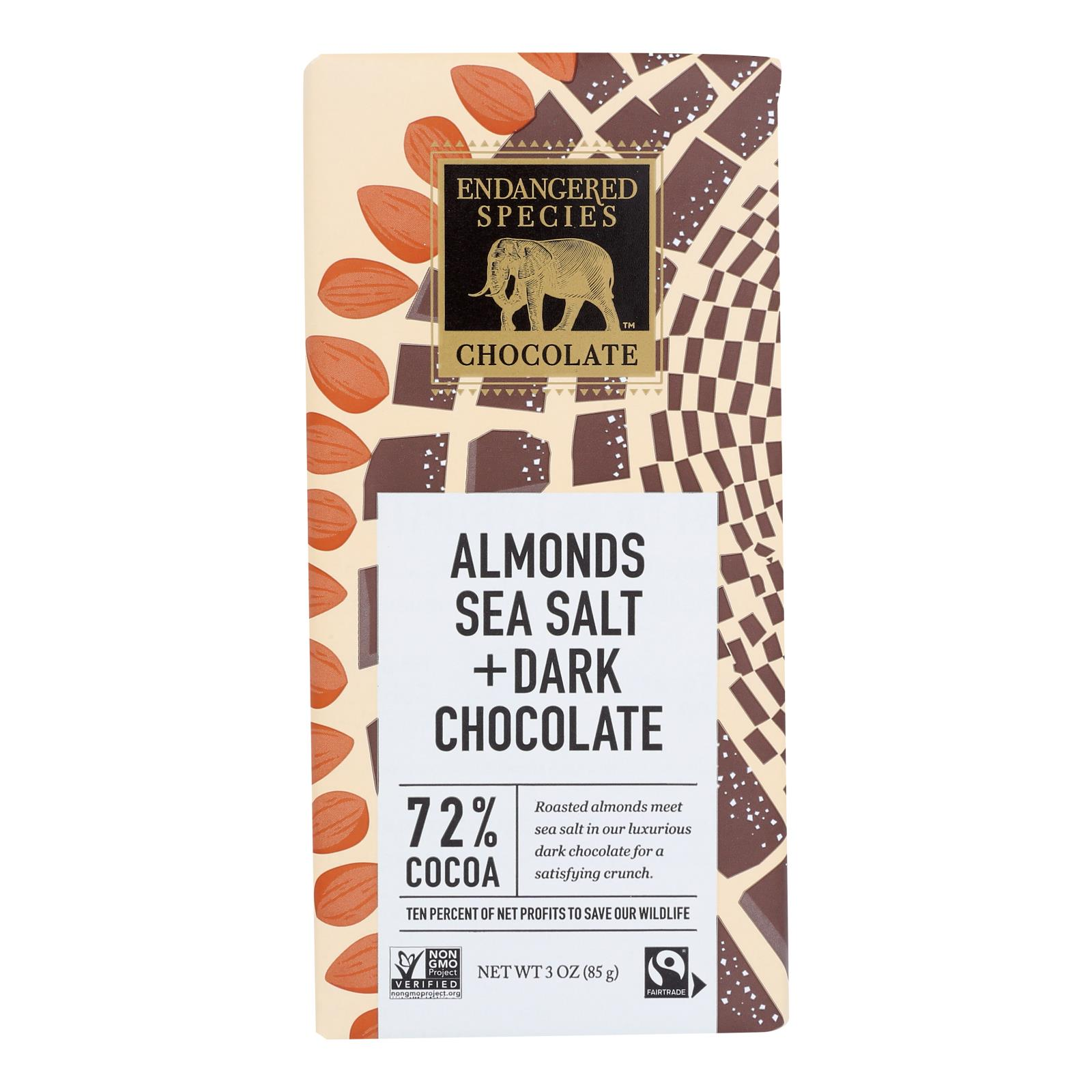 Endangered Species Natural Chocolate Bar - Dark Chocolate - 72 Percent Cocoa - Sea Salt and Almonds - 3 oz Bars - Case of 12