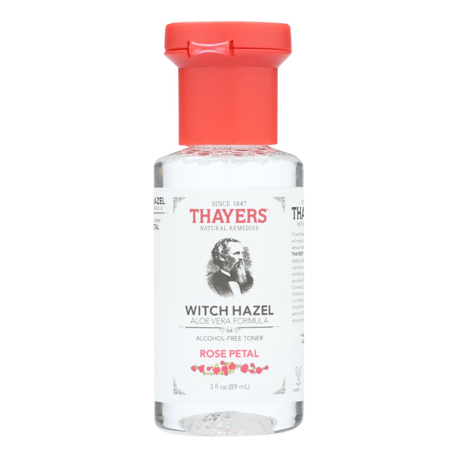 Thayers Witch Hazel - Rose Petal - Alcohol Free - Case of 24 - 3 fl oz