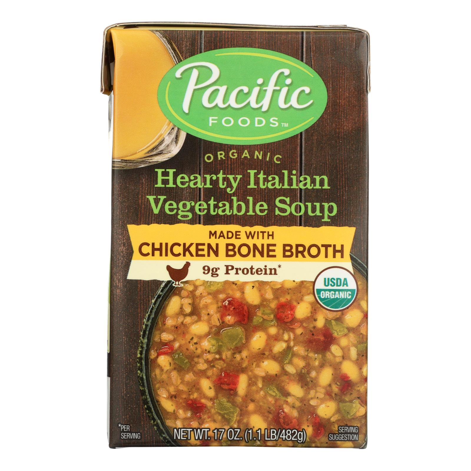 Pacific Natural Foods Organic Hearty Italian Vegetable Soup Made With Chicken Bone Broth - Case of 12 - 17 OZ
