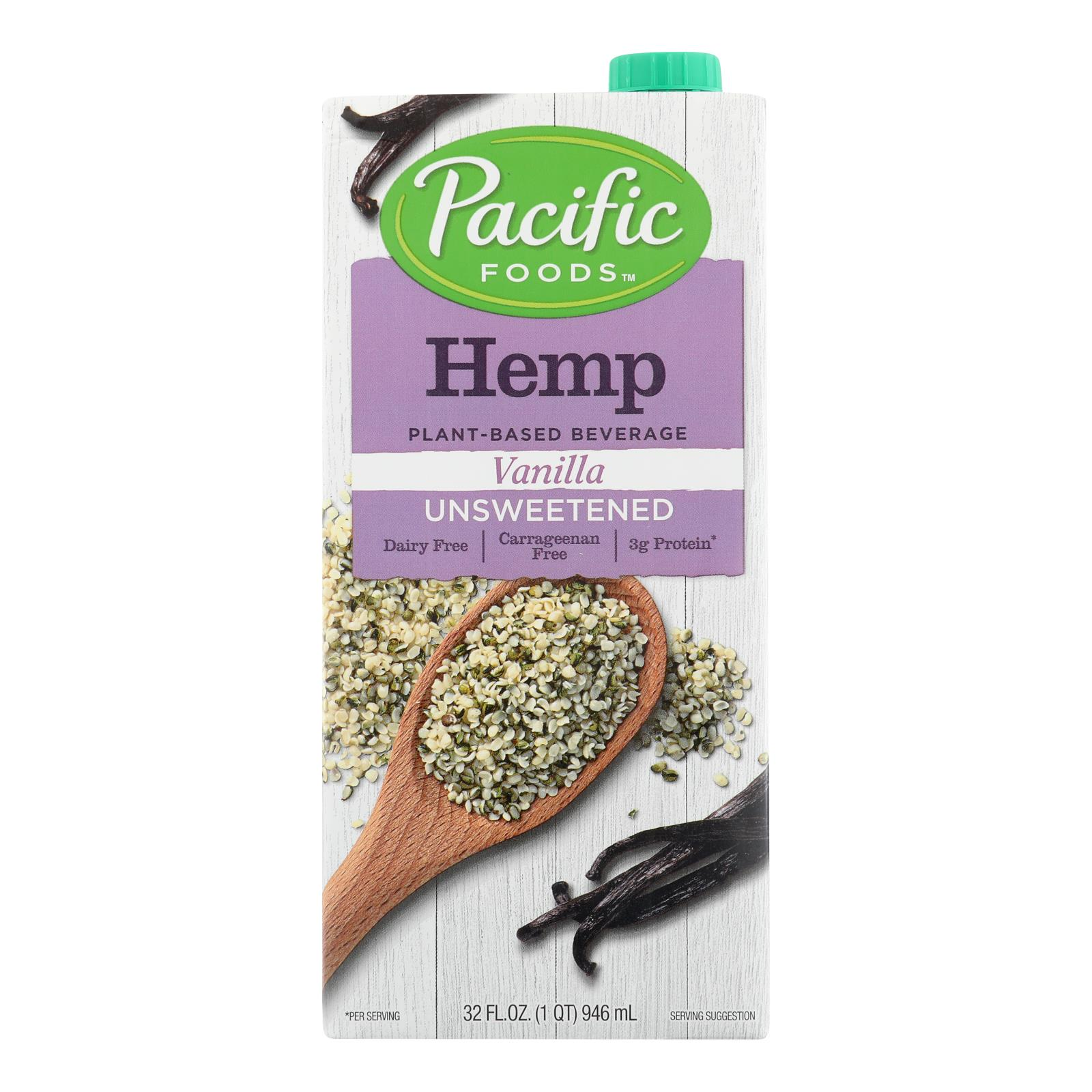 Pacific Natural Foods Hemp Vanilla - Unsweetened - Case of 12 - 32 Fl oz.