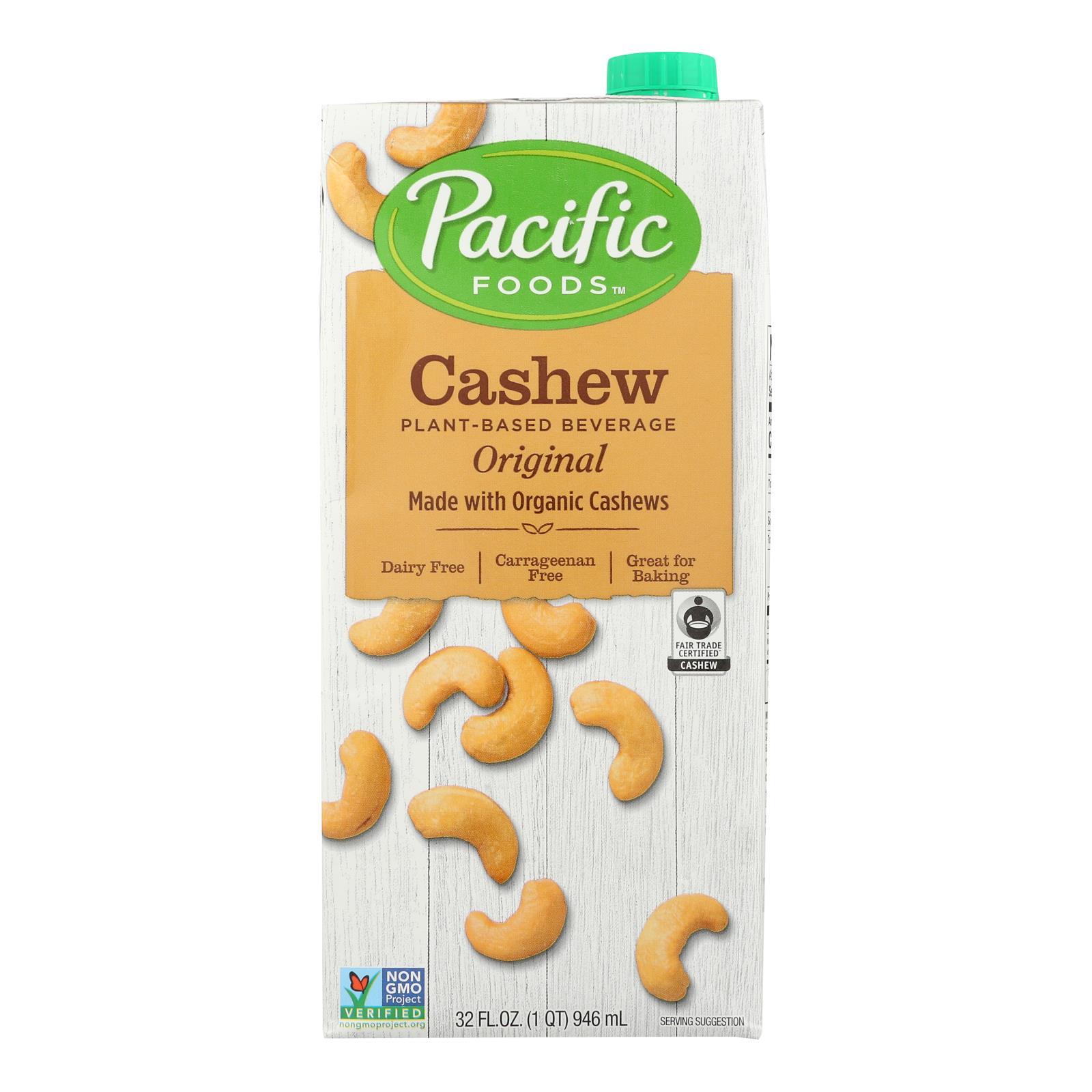 Pacific Natural Foods Cashew Beverage - Organic - Original - Case of 6 - 32 fl oz