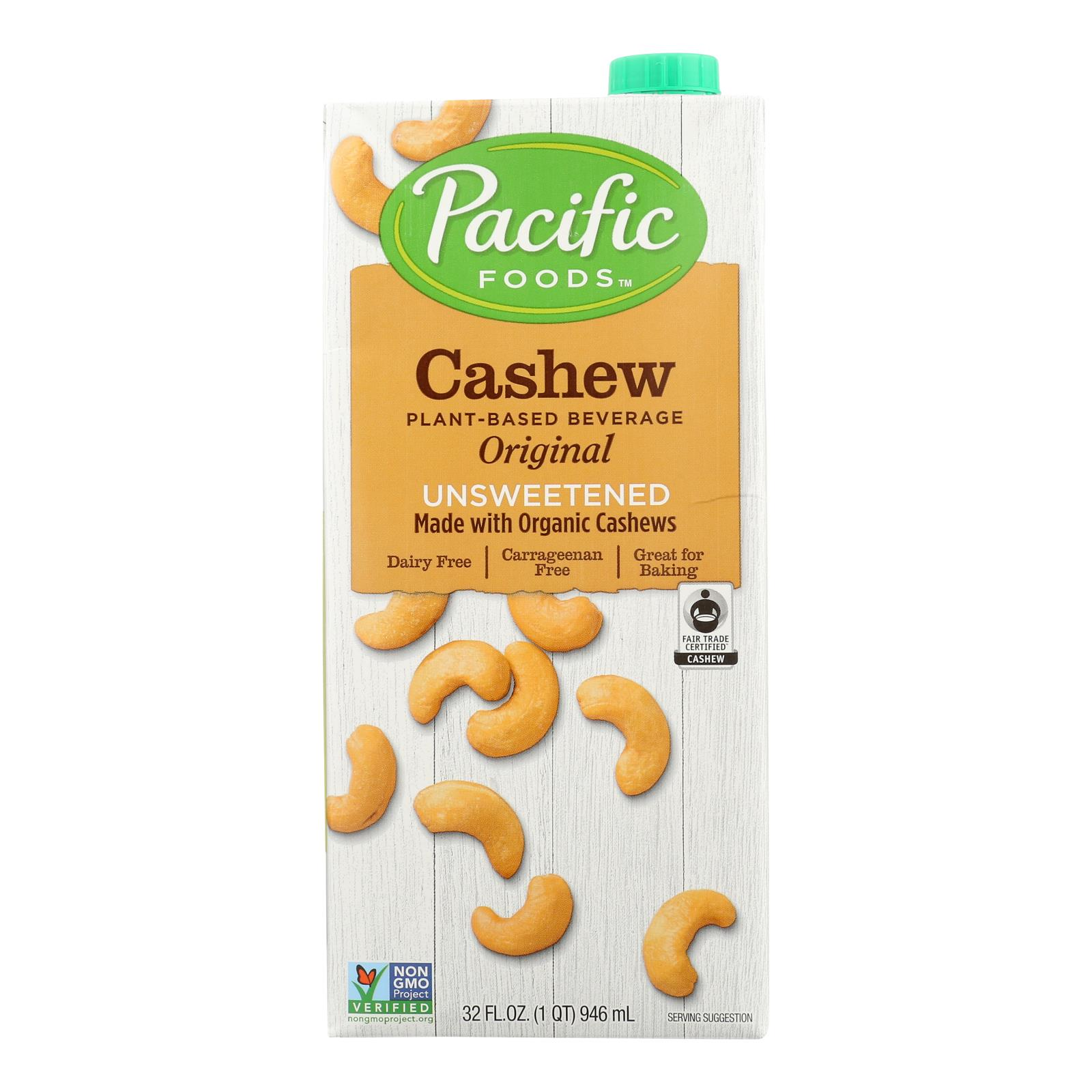 Pacific Natural Foods Cashew Beverage - Organic - Unsweetened- Case of 6 - 32 fl oz