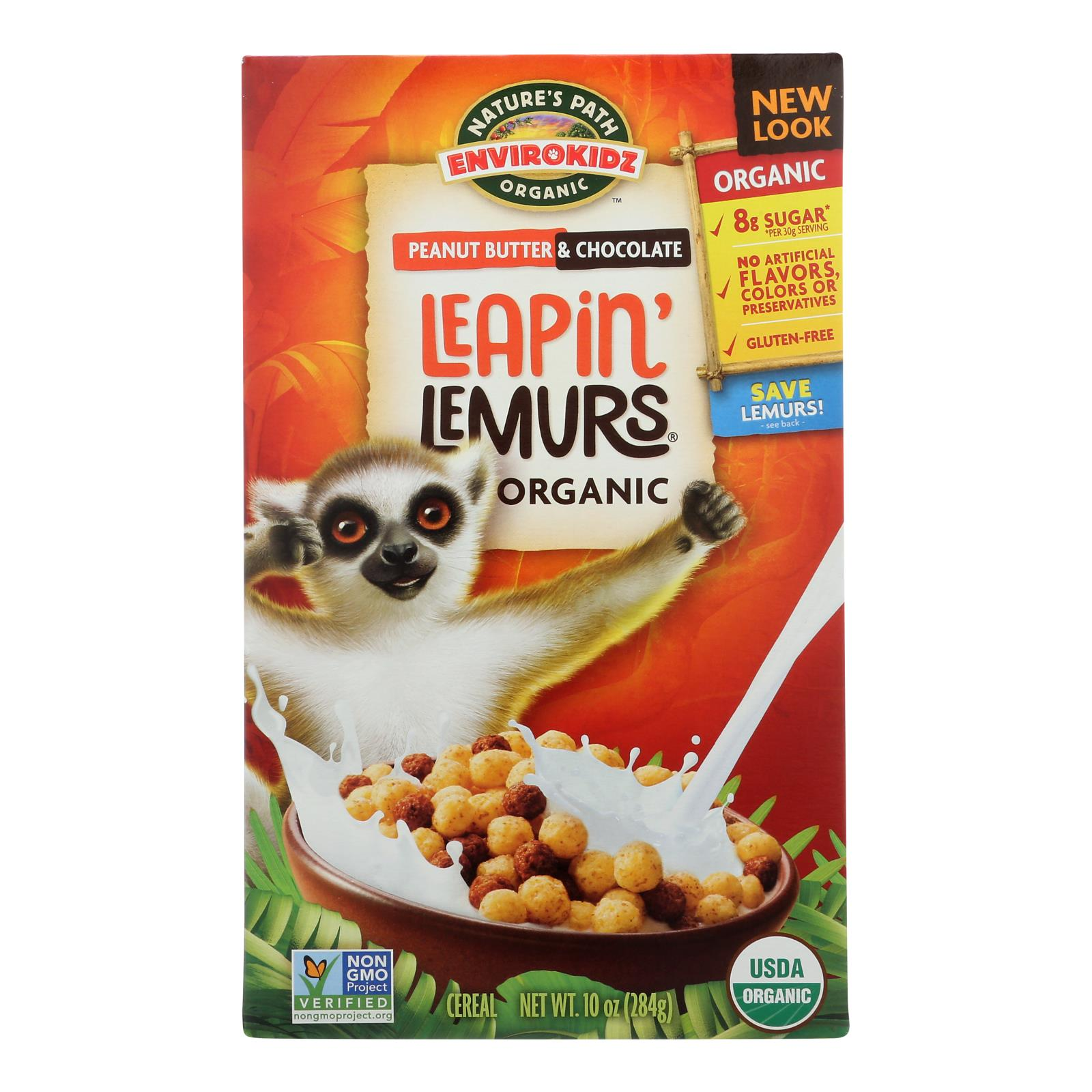 Envirokidz - Leapin' Lemurs Cereal - Peanut Butter and Chocolate - Case of 12 - 10 oz.