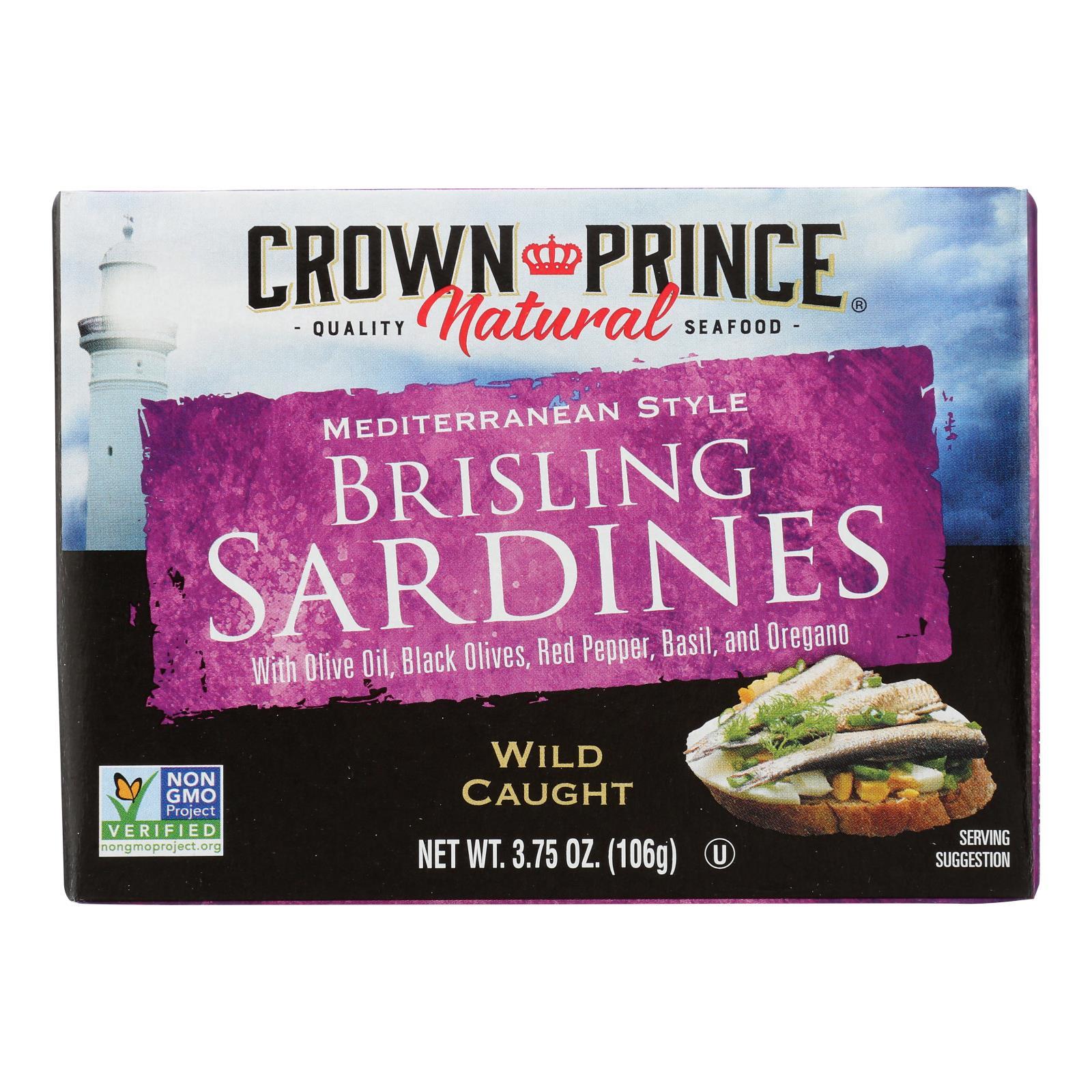 Crown Prince Brisling Sardines - Mediterranean Style - Case of 12 - 3.75 oz.