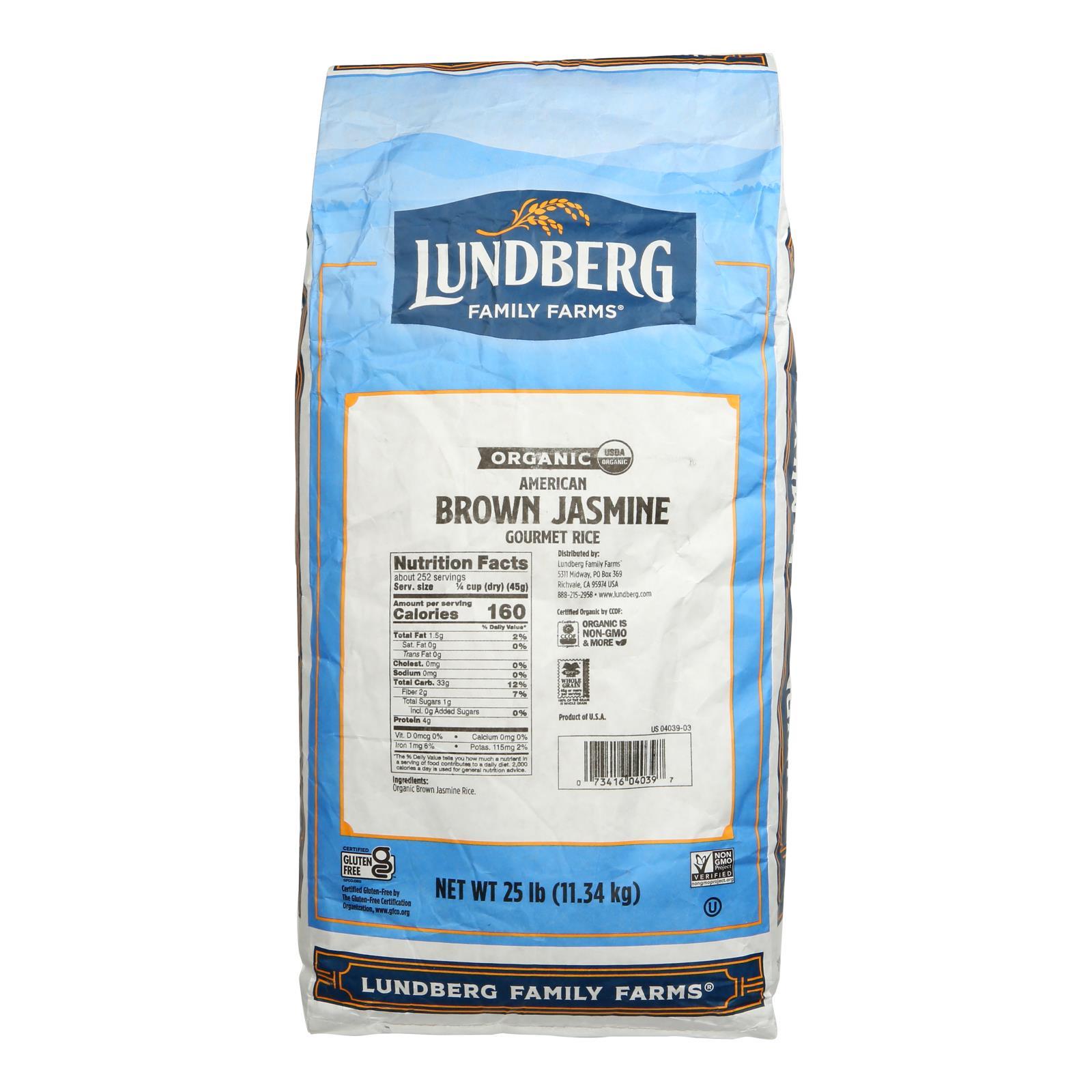 Lundberg Family Farms Organic California Brown Jasmine Rice - Case of 25 lbs