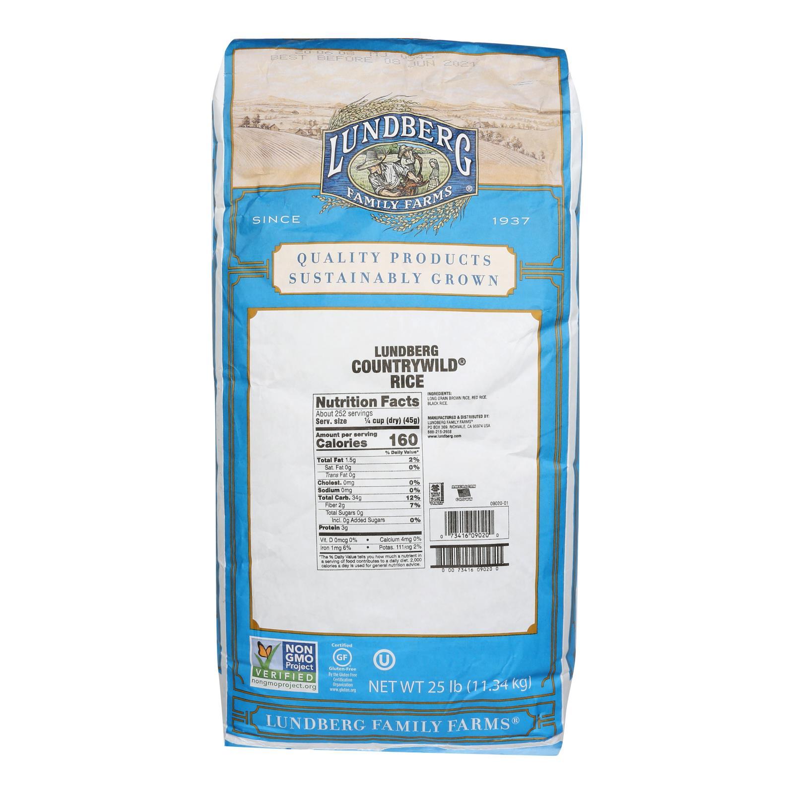 Lundberg Family Farms Whole Grain Brown Rice - Case of 25 lbs