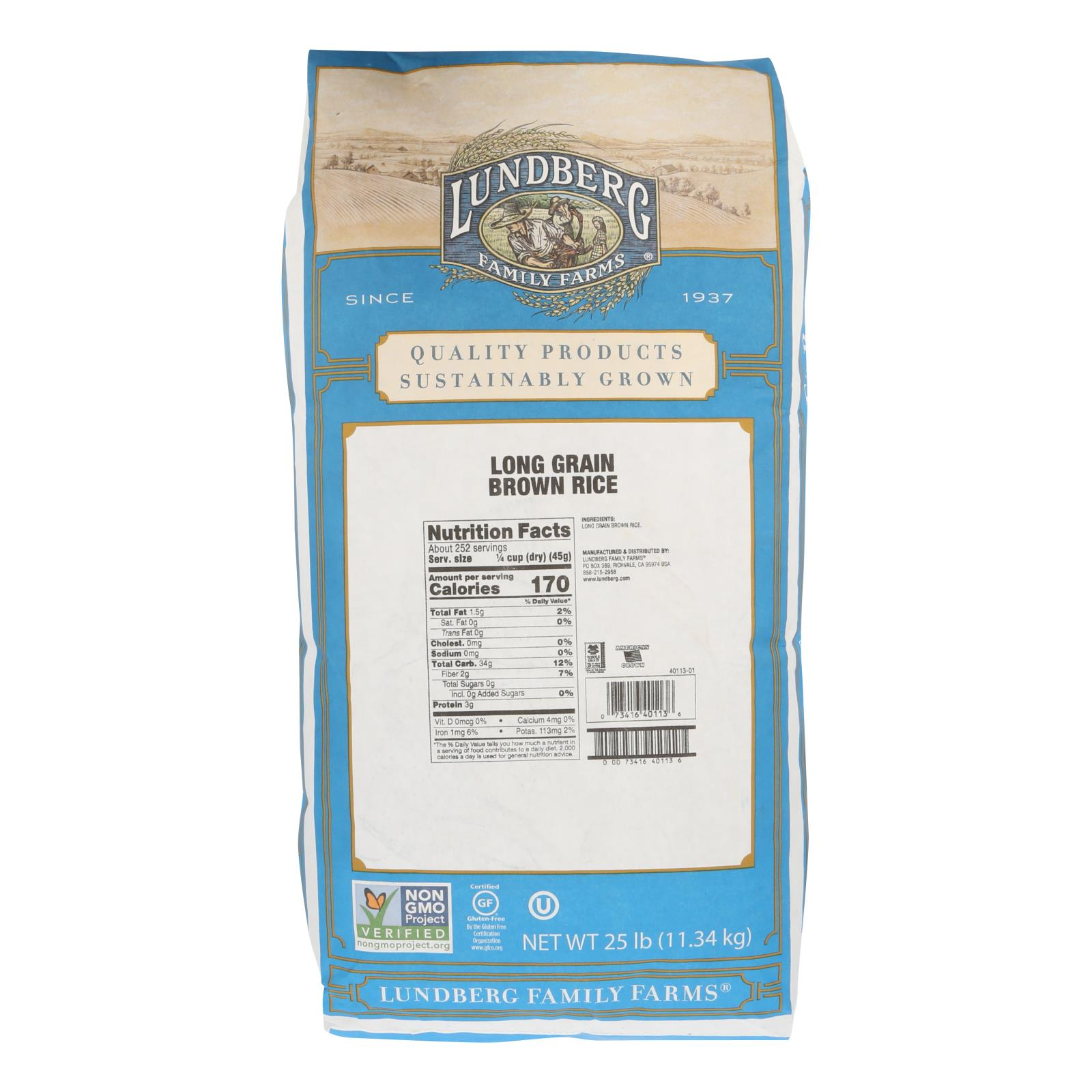 Lundberg Family Farms Eco - Farmed Long Grain Brown Rice - Case of 25 lbs