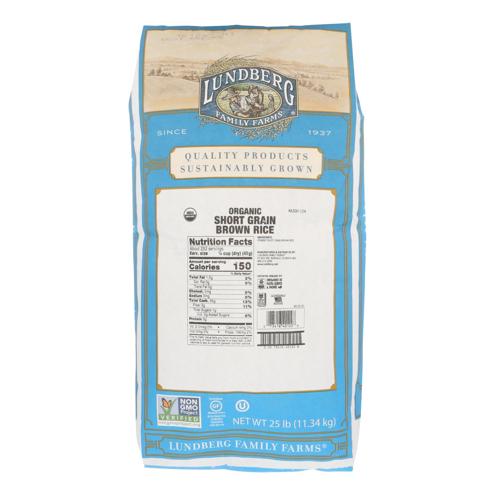 Lundberg Family Farms Short Grain Brown Rice - Case of 25 lbs