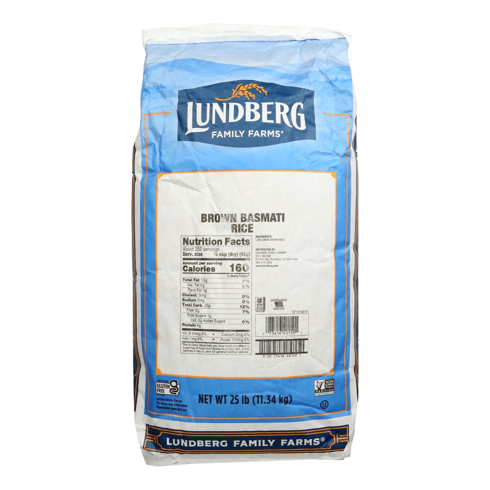 Lundberg Family Farms Brown Basmati Rice - Case of 25 lbs