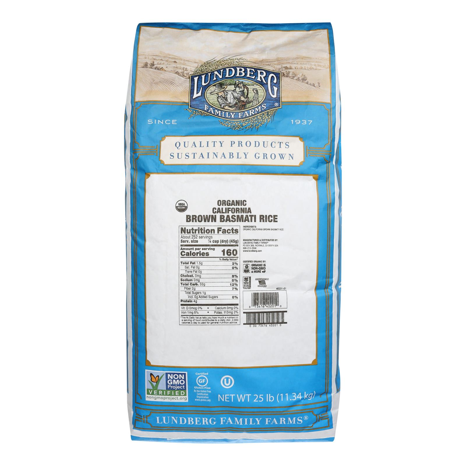Lundberg Family Farms Organic Rice - Brown Basmati - Case of 25 lbs