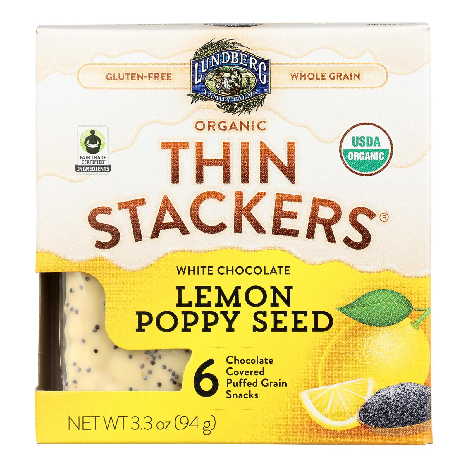 Lundberg Family Farms - Stackers White Chocolate Lemon - Case of 6 - 3.3 OZ
