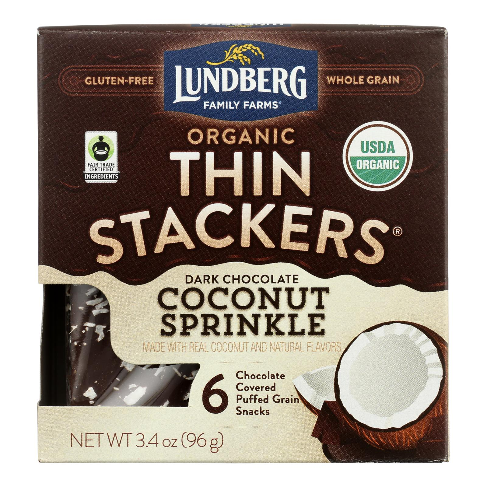 Lundberg Family Farms - Stackers Dark Chocolate Coconut - Case of 6 - 3.4 OZ