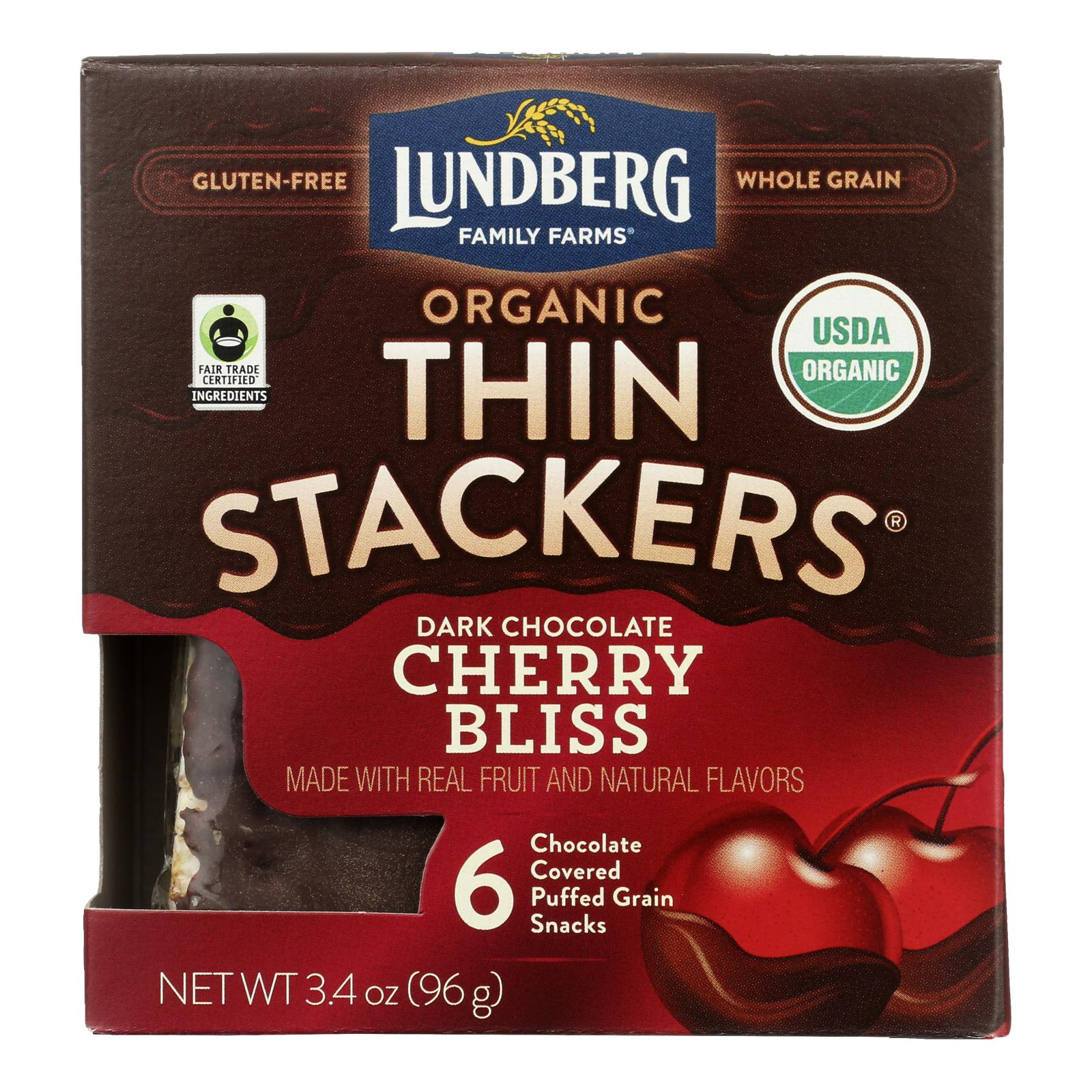 Lundberg Family Farms - Stackers Dark Chocolate Cherry - Case of 6 - 3.4 OZ