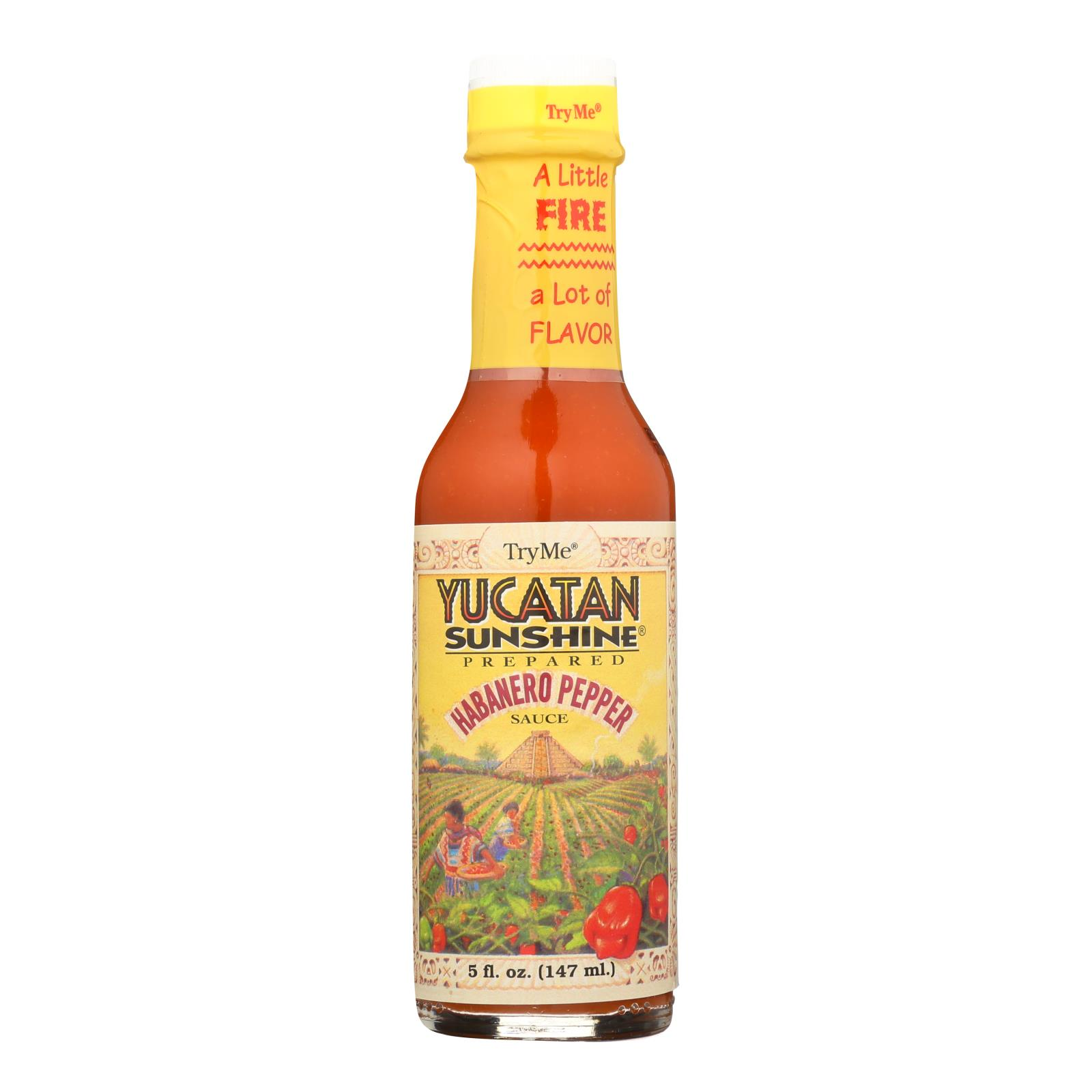 Try Me Yucatan Sunshine - Habanero Pepper Sauce - Case of 6 - 5 Fl oz.