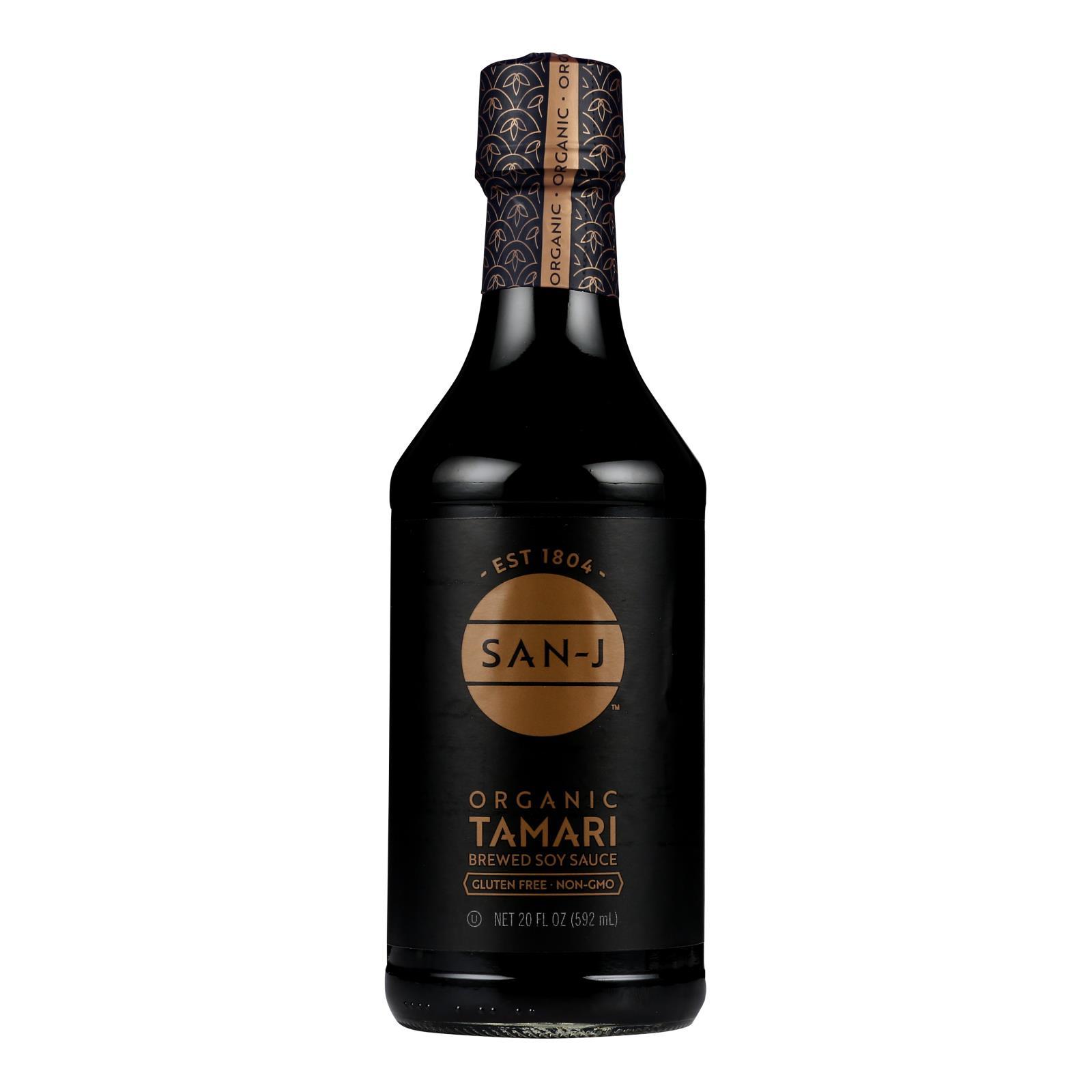 San - J Tamari Soy Sauce - Organic - Case of 6 - 20 Fl oz.