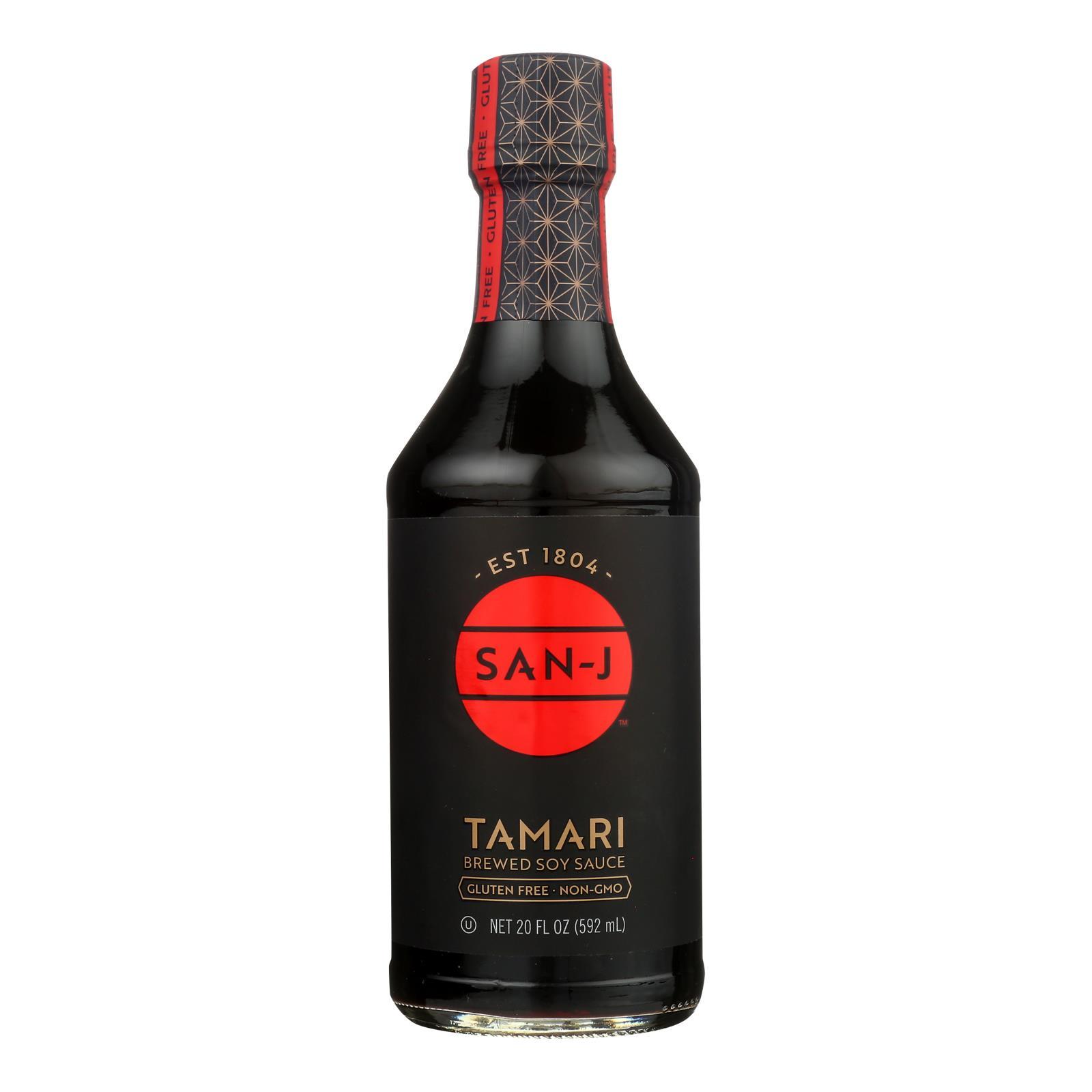 San - J Tamari Soy Sauce - Case of 6 - 20 Fl oz.