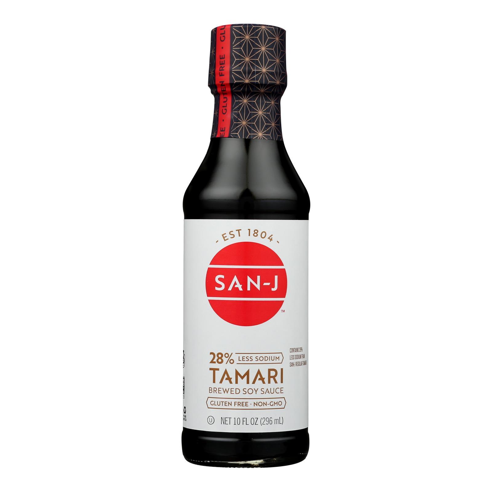 San - J Tamari Soy Sauce - Reduced Sodium - Case of 6 - 10 Fl oz.