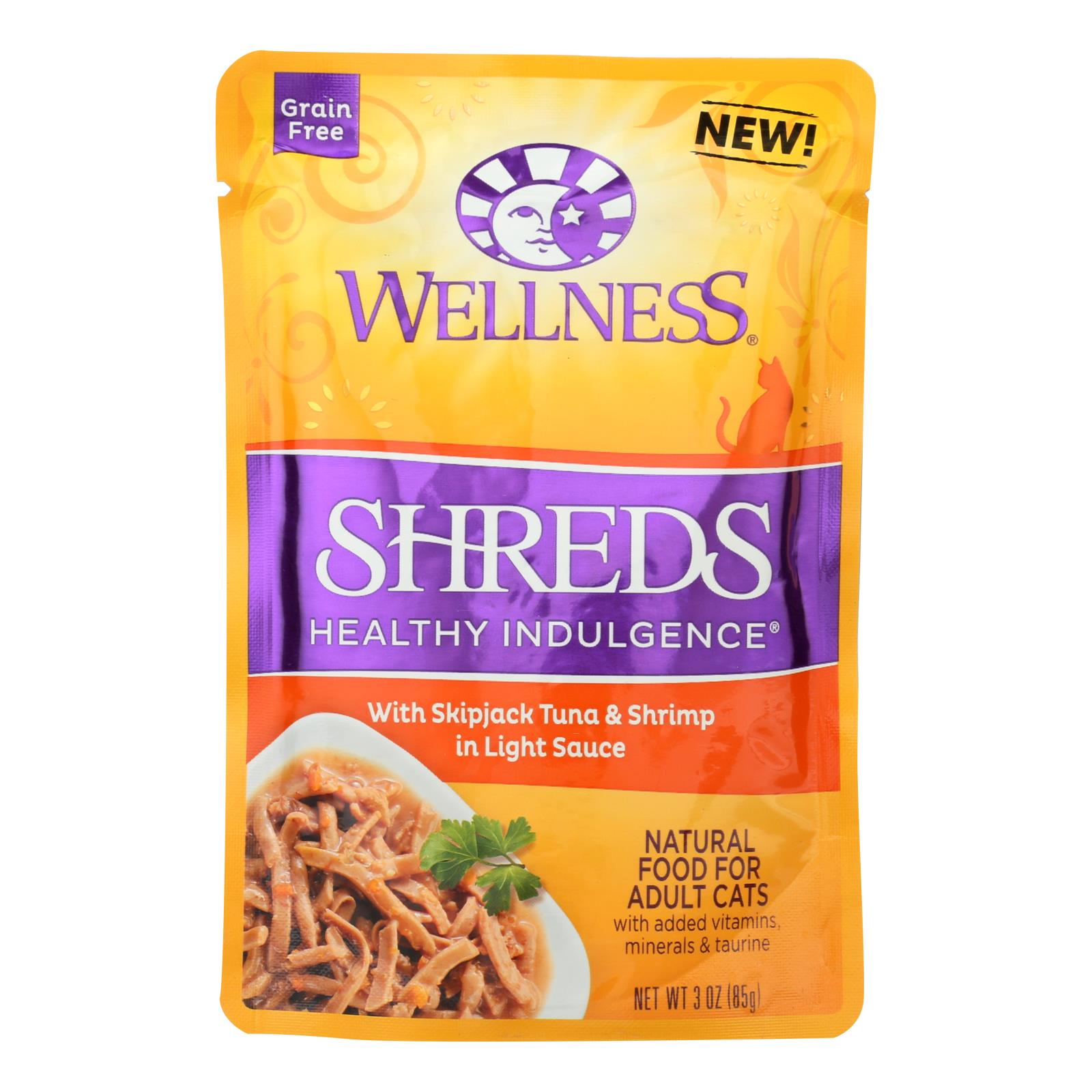 Wellness Pet Products Cat Food - Shreds with Skipjack Tuna and Shrimp In Light Sauce - Case of 24 - 3 oz.