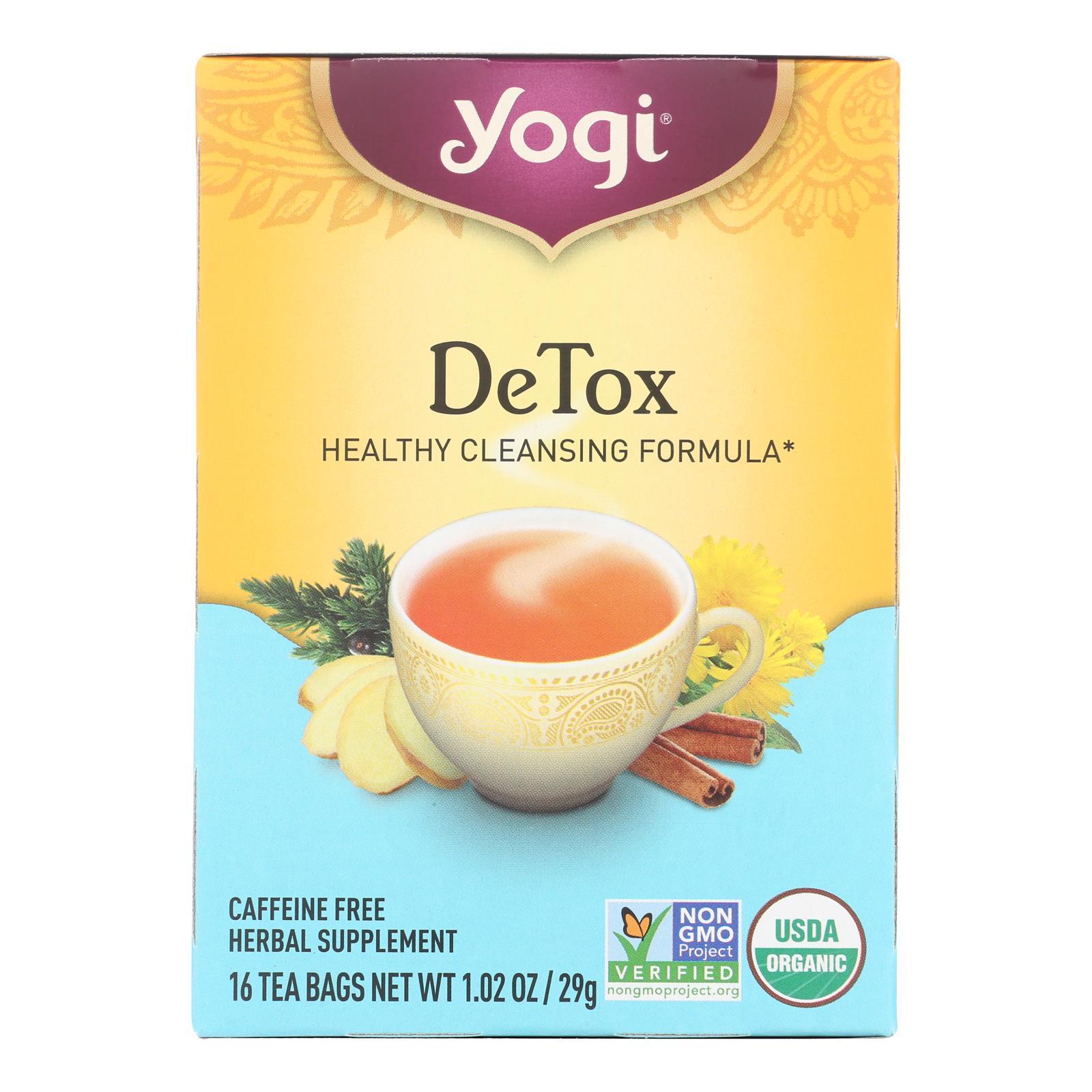 Yogi Detox Herbal Tea Caffeine Free - 16 Tea Bags - Case of 6
