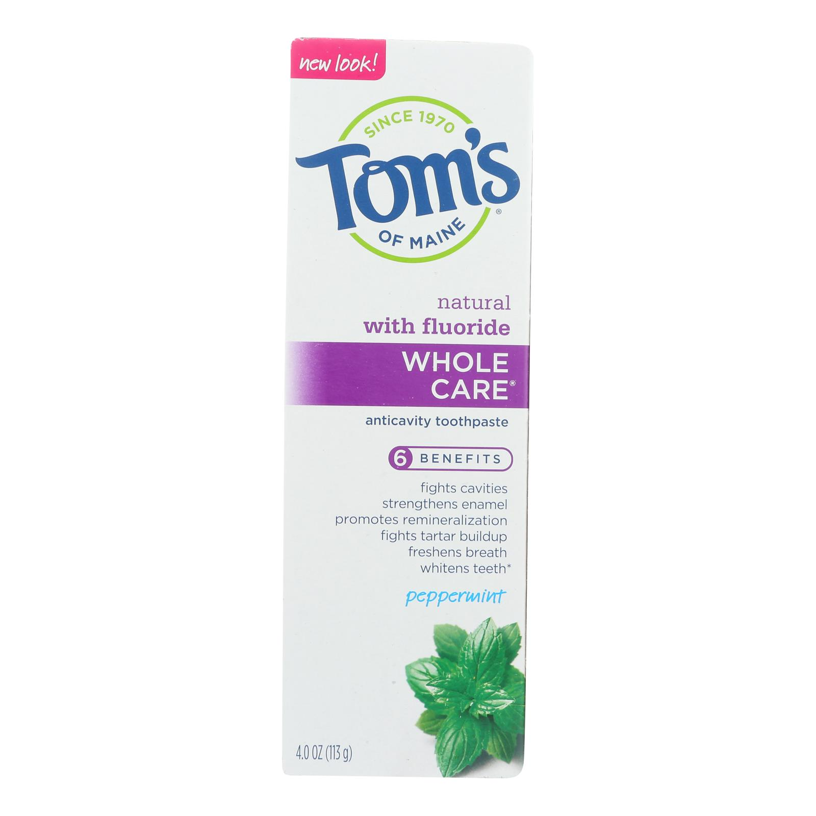 Tom's Of Maine - Tp Whole Care Ppmnt Fluor - Case of 6 - 4 OZ