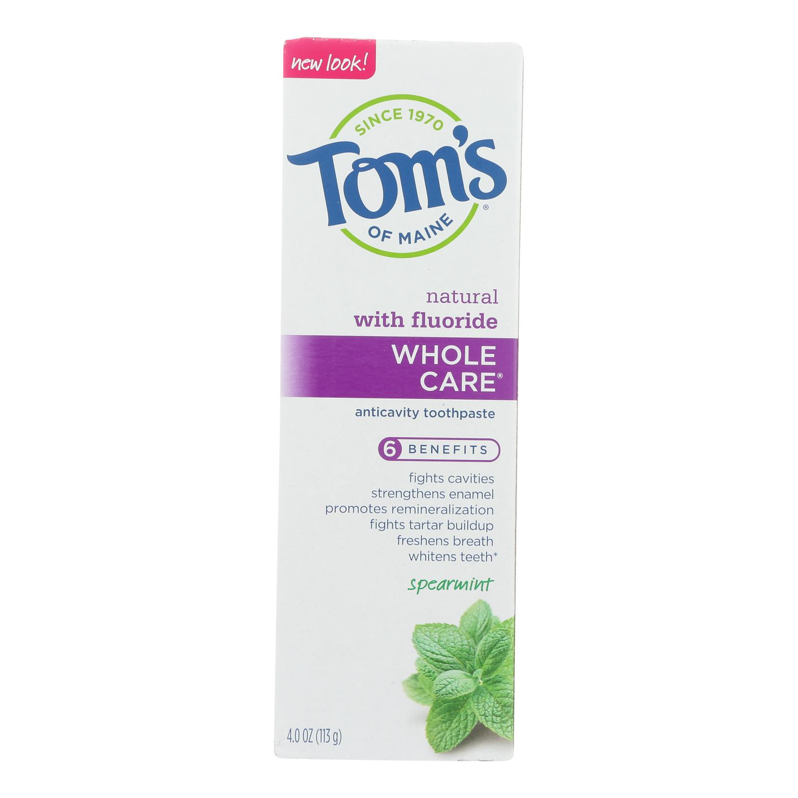 Tom's Of Maine - Tp Whole Care Sprmnt Fluor - Case of 6 - 4 OZ