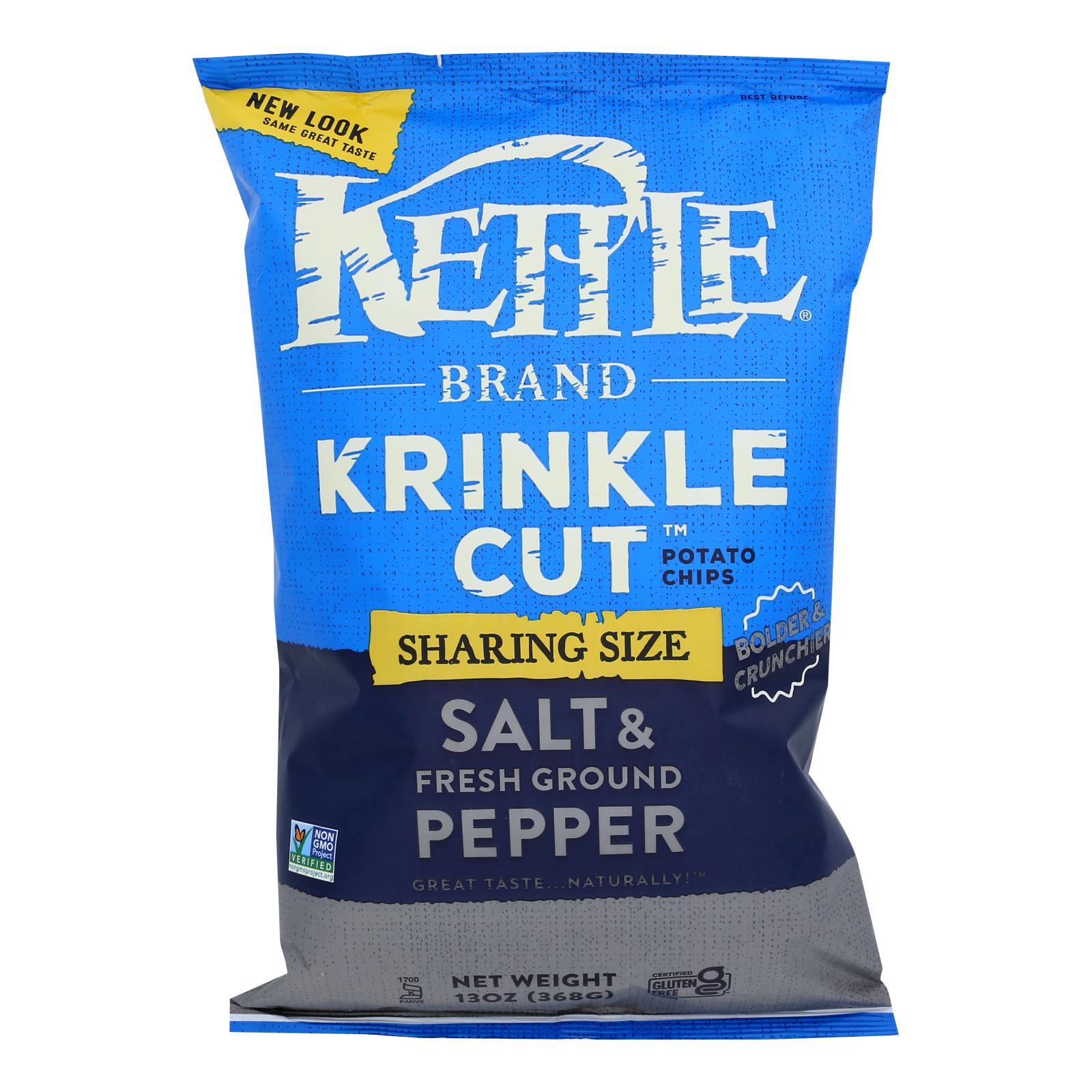Kettle Brand Salt & Pepper Krinkle Cut Potato Chips  - Case of 9 - 13 OZ
