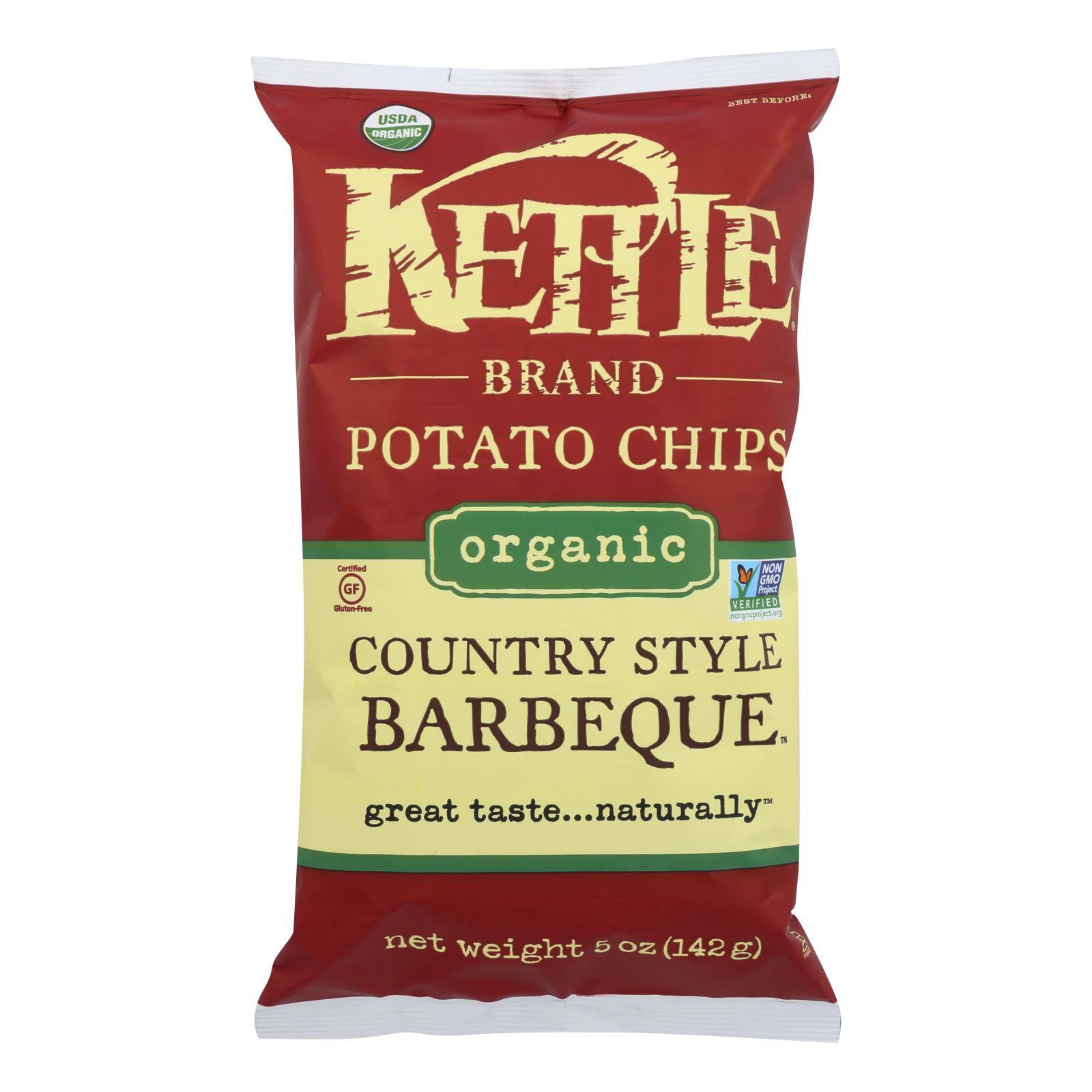 Kettle Brand Potato Chips - Country Style Barbeque - Case of 15 - 5 oz.