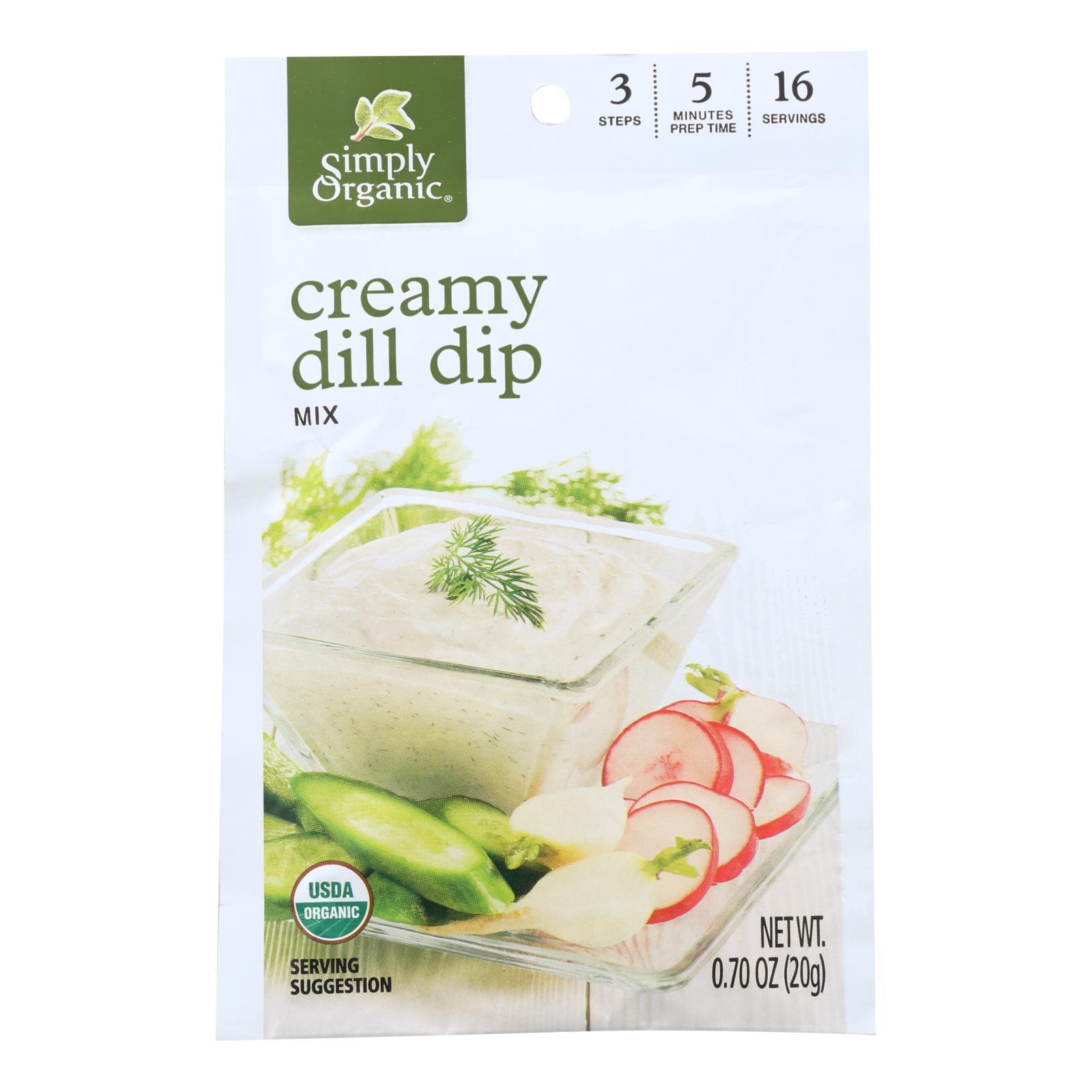 Simply Organic Creamy Dill Dip Mix - Case of 12 - 0.7 oz.