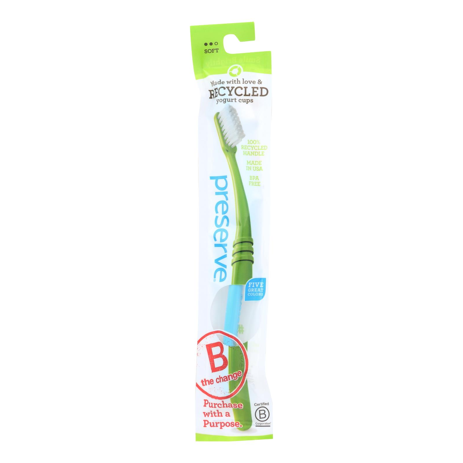 Preserve Adult Toothbrush in a Lightweight Pouch Soft - 6 Pack - Assorted Colors