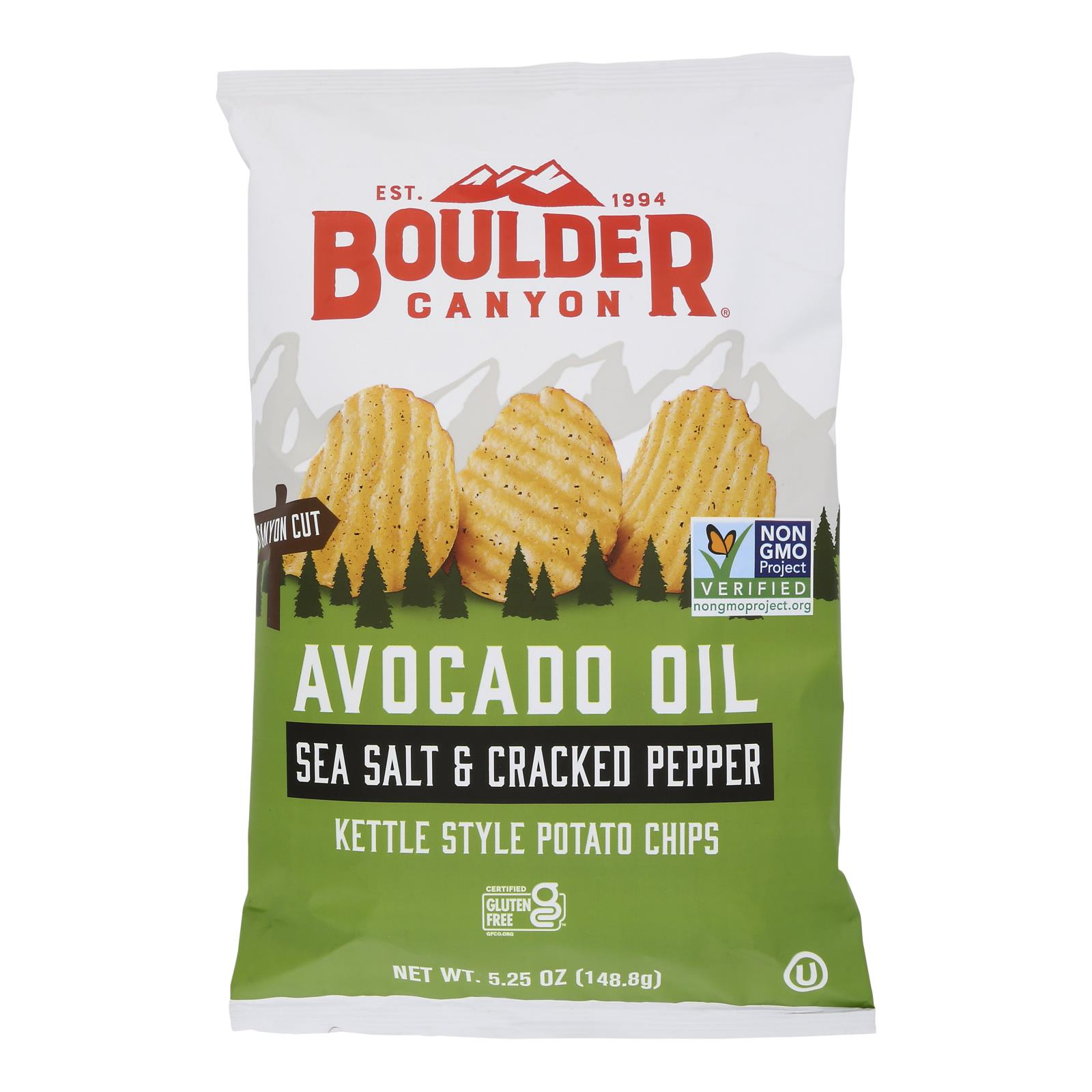 Boulder Canyon - Avocado Oil Canyon Cut Potato Chips - Sea Salt and Cracked Pepper - Case of 12 - 5.25 oz.