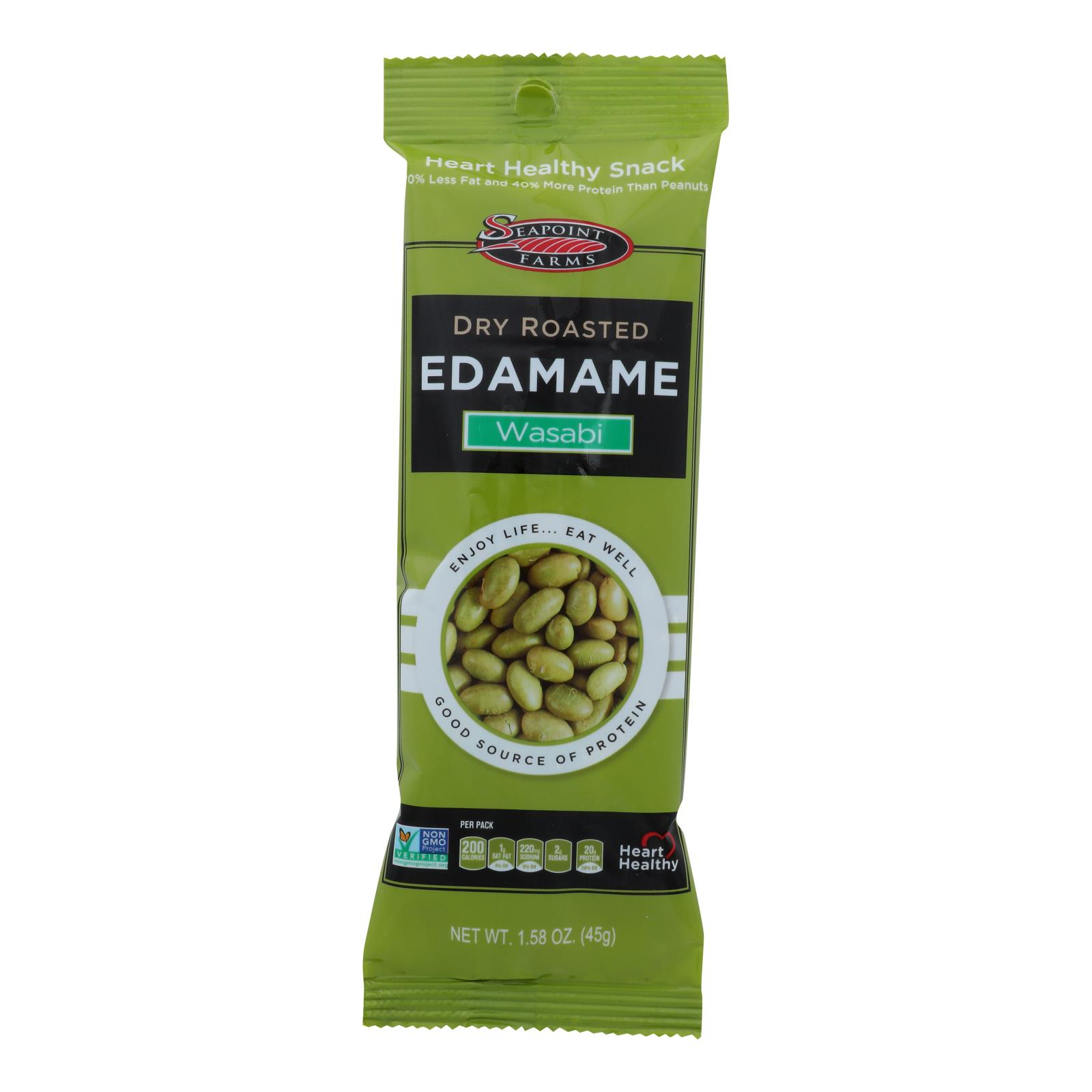 Seapoint Farms Edamame - Dry Roasted - Spicy Wasabi - 1.58 oz - Case of 12