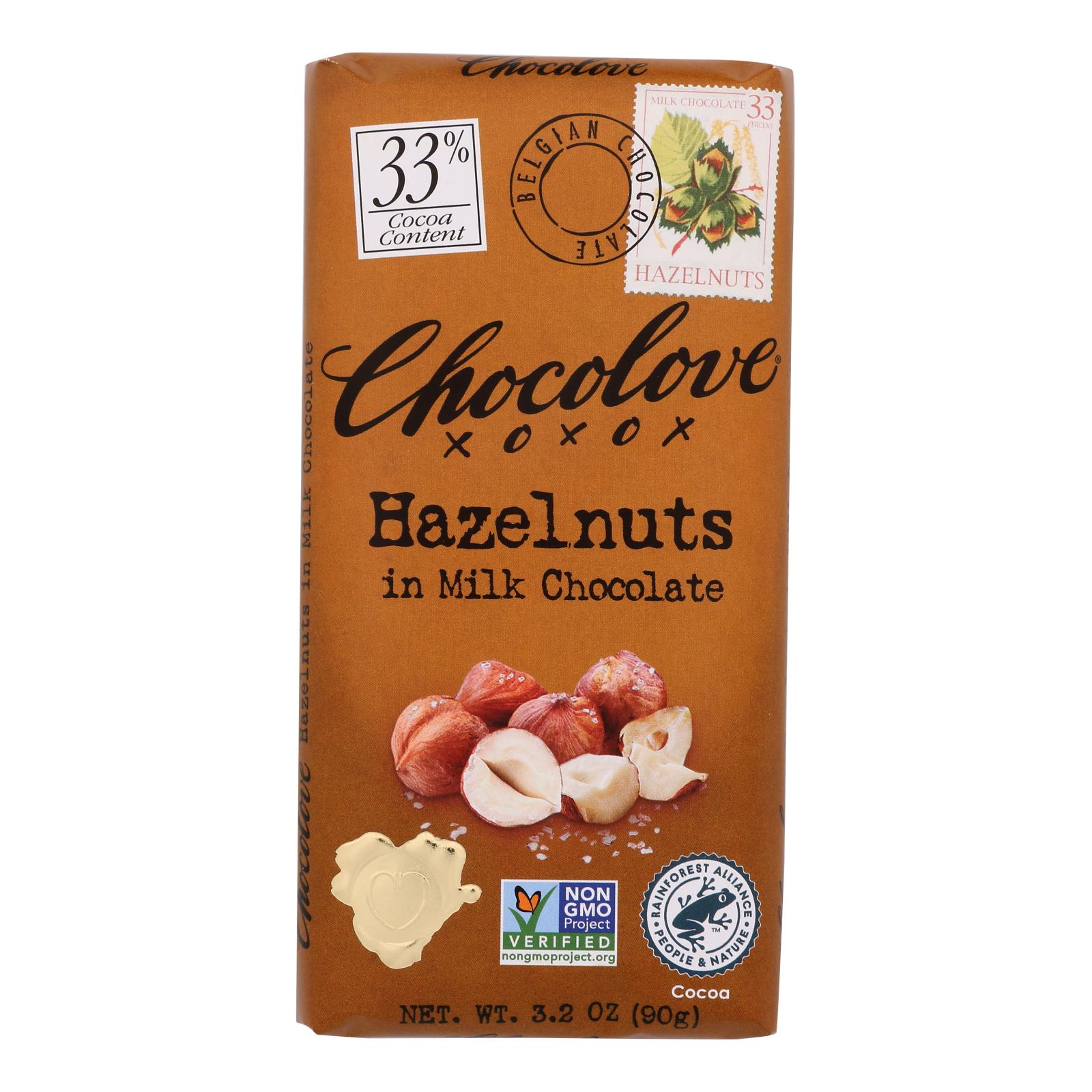 Chocolove Xoxox - Premium Chocolate Bar - Milk Chocolate - Hazelnuts - 3.2 oz Bars - Case of 12