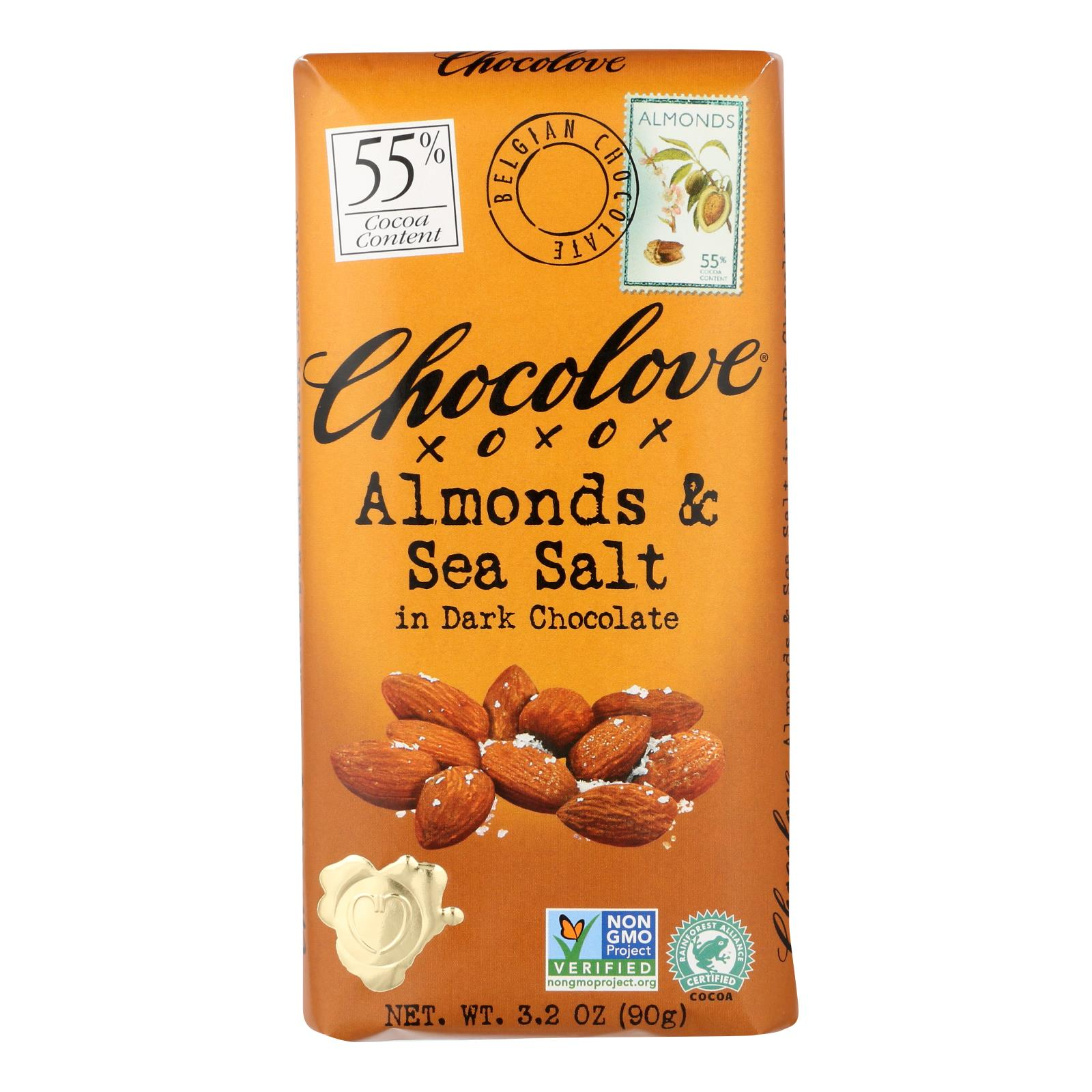 Chocolove Xoxox - Premium Chocolate Bar - Dark Chocolate - Almonds and Sea Salt - 3.2 oz Bars - Case of 12