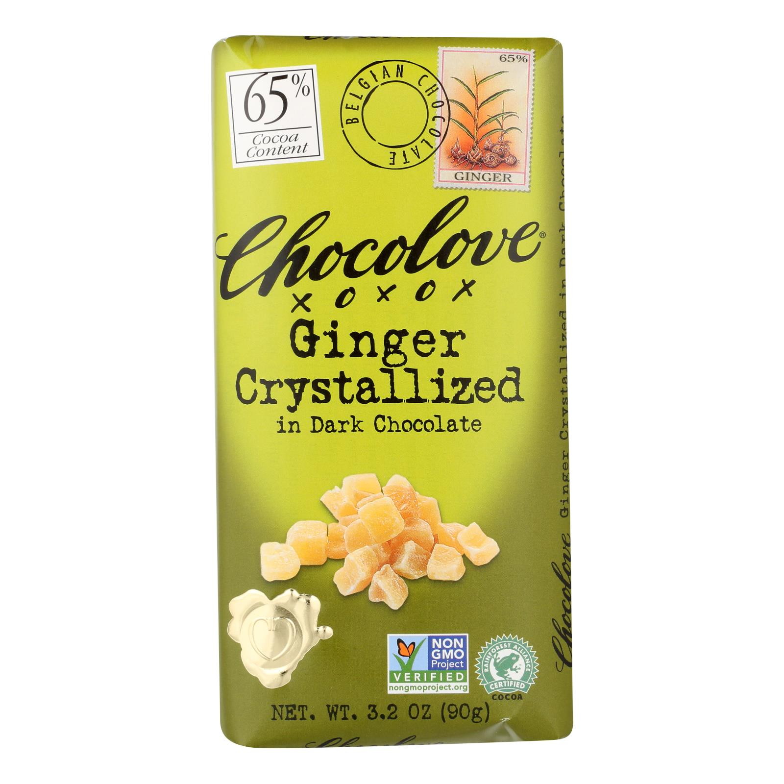 Chocolove Xoxox - Premium Chocolate Bar - Dark Chocolate - Ginger Crystallized - 3.2 oz Bars - Case of 12