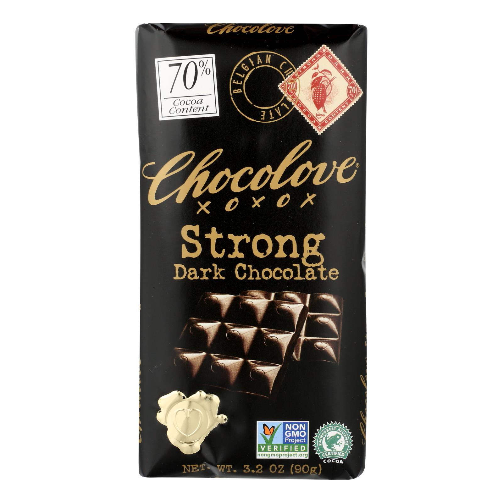 Chocolove Xoxox - Premium Chocolate Bar - Dark Chocolate - Strong - 3.2 oz Bars - Case of 12