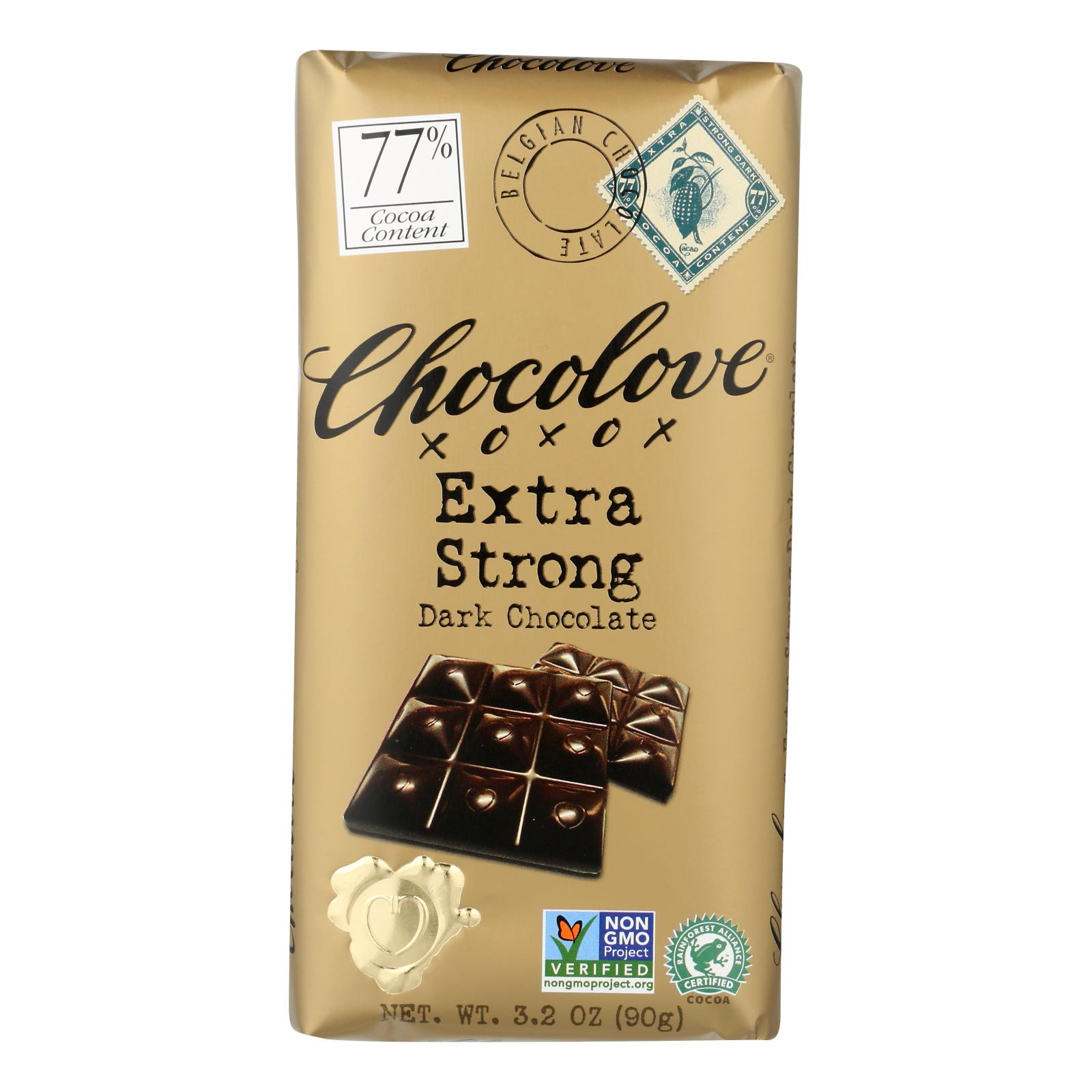Chocolove Xoxox - Premium Chocolate Bar - Dark Chocolate - Extra Strong - 3.2 oz Bars - Case of 12