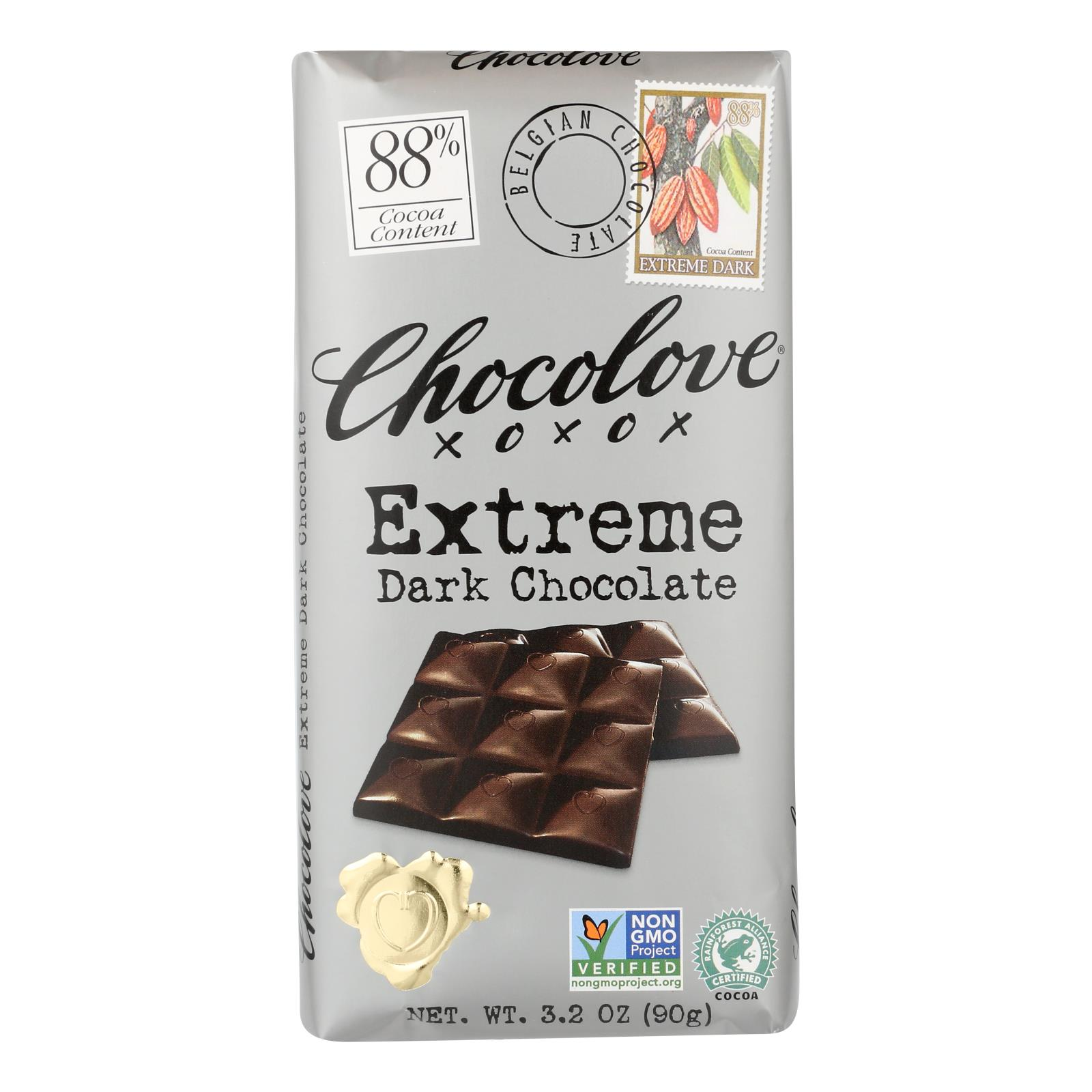 Chocolove Xoxox - Dark Chocolate Bar - Extreme - Case of 12 - 3.2 oz