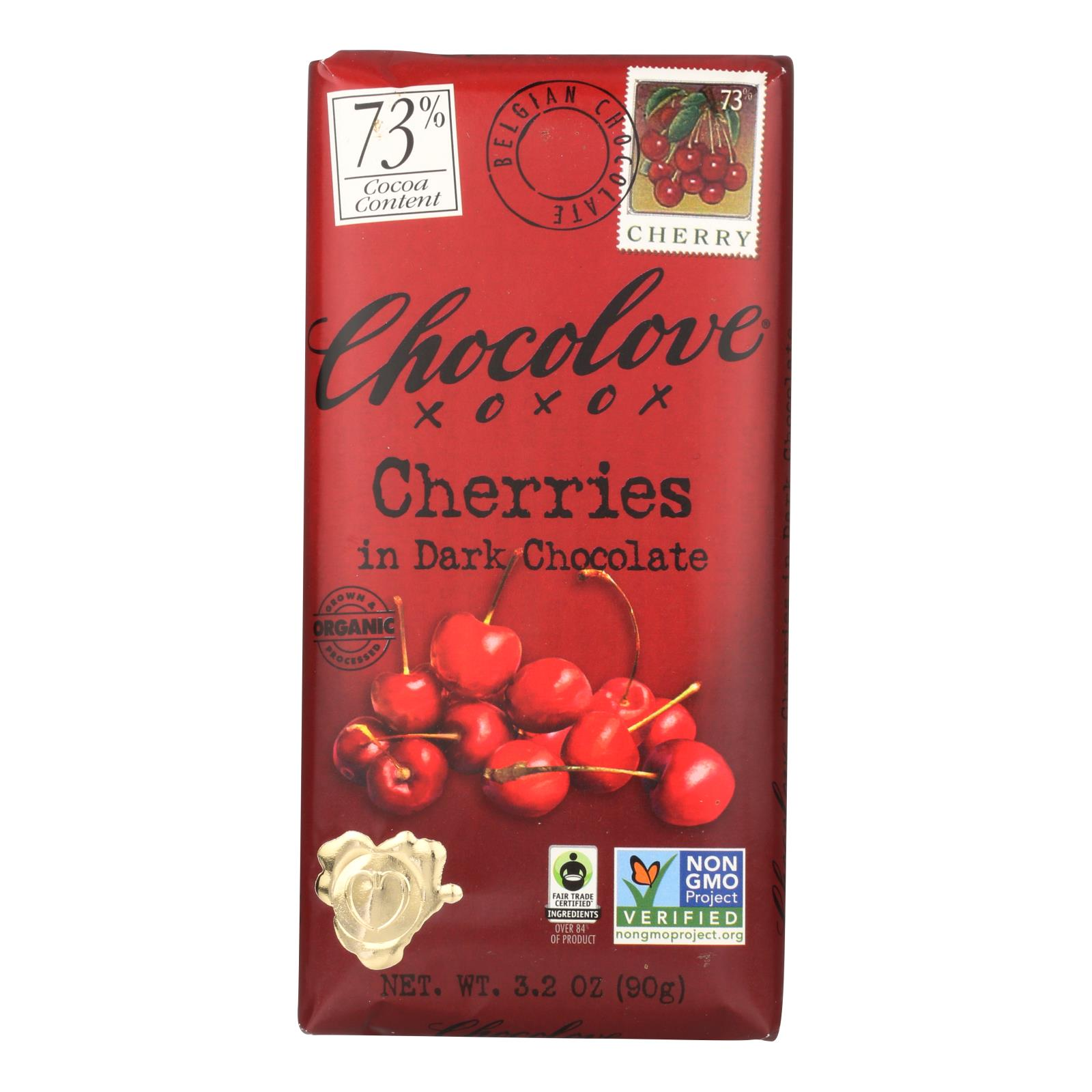 Chocolove Xoxox - Premium Chocolate Bar - Organic Dark Chocolate - Fair Trade Cherries - 3.2 oz Bars - Case of 12