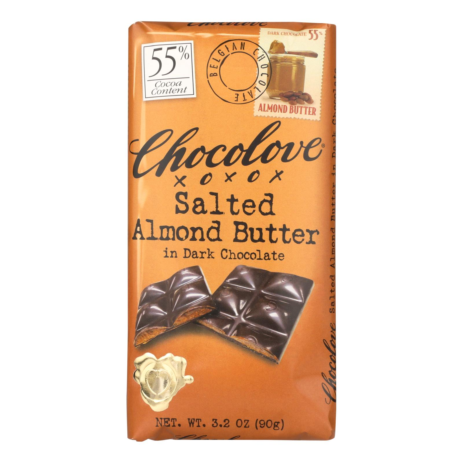 Chocolove Xoxox - Dark Chocolate Bar - Salted Almond Butter - Case of 10 - 3.2 oz