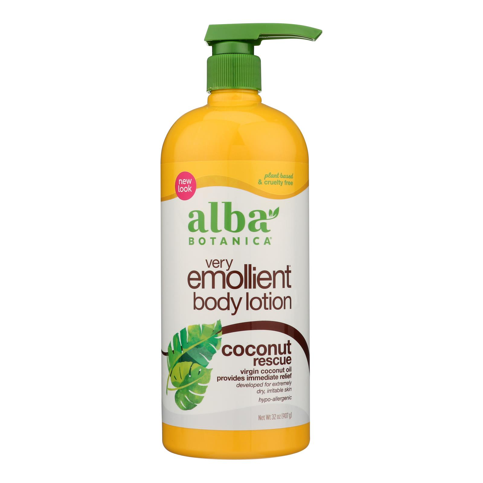 Alba Botanica - Body Lotion - Very Emollient - Coconut Rescue - 32 oz