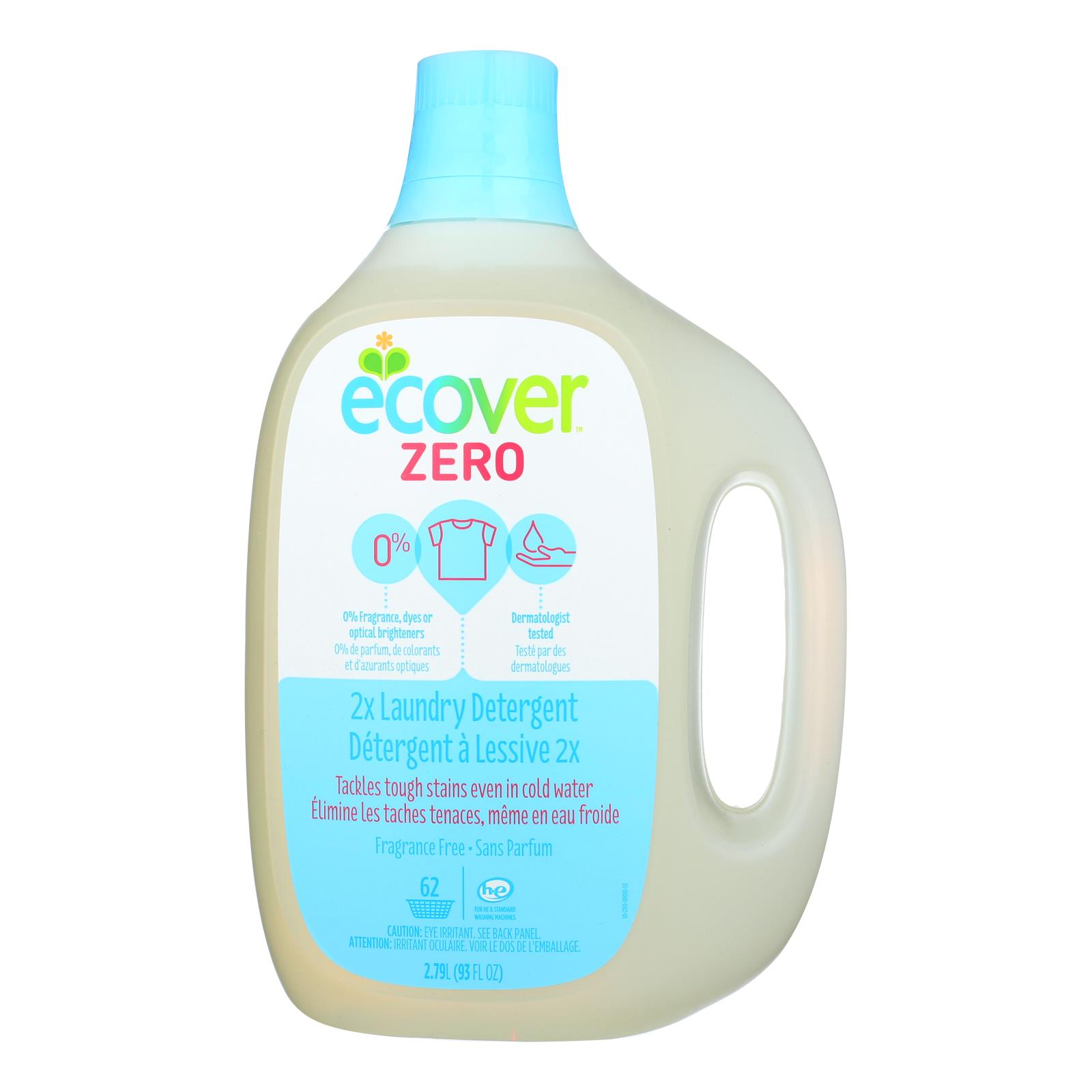 Ecover Zero 2X Laundry Detergent - Case of 4 - 93 FL oz.
