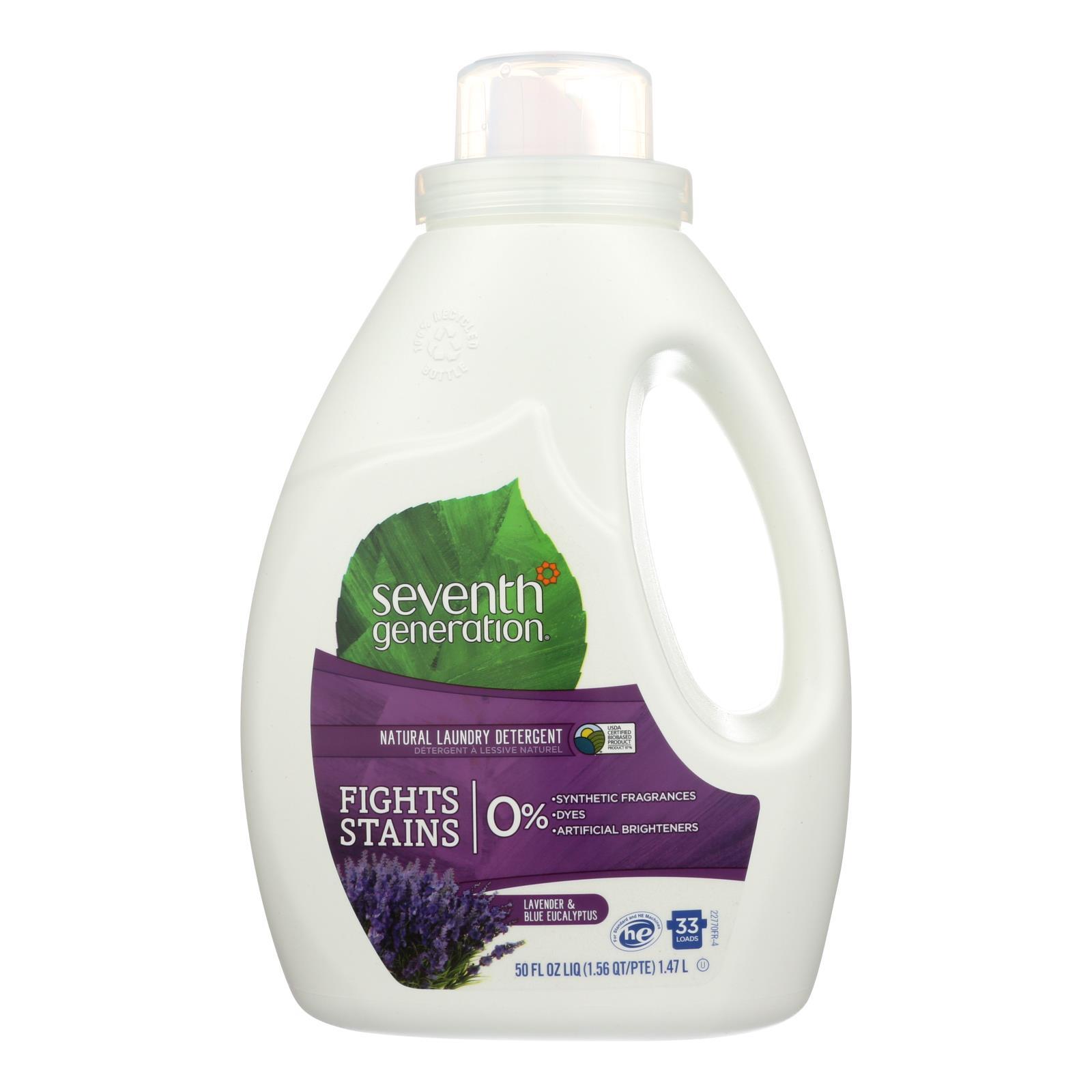 Seventh Generation Natural Laundry Detergent - Blue Eucalyptus and Lavender - Case of 6 - 50 Fl oz.