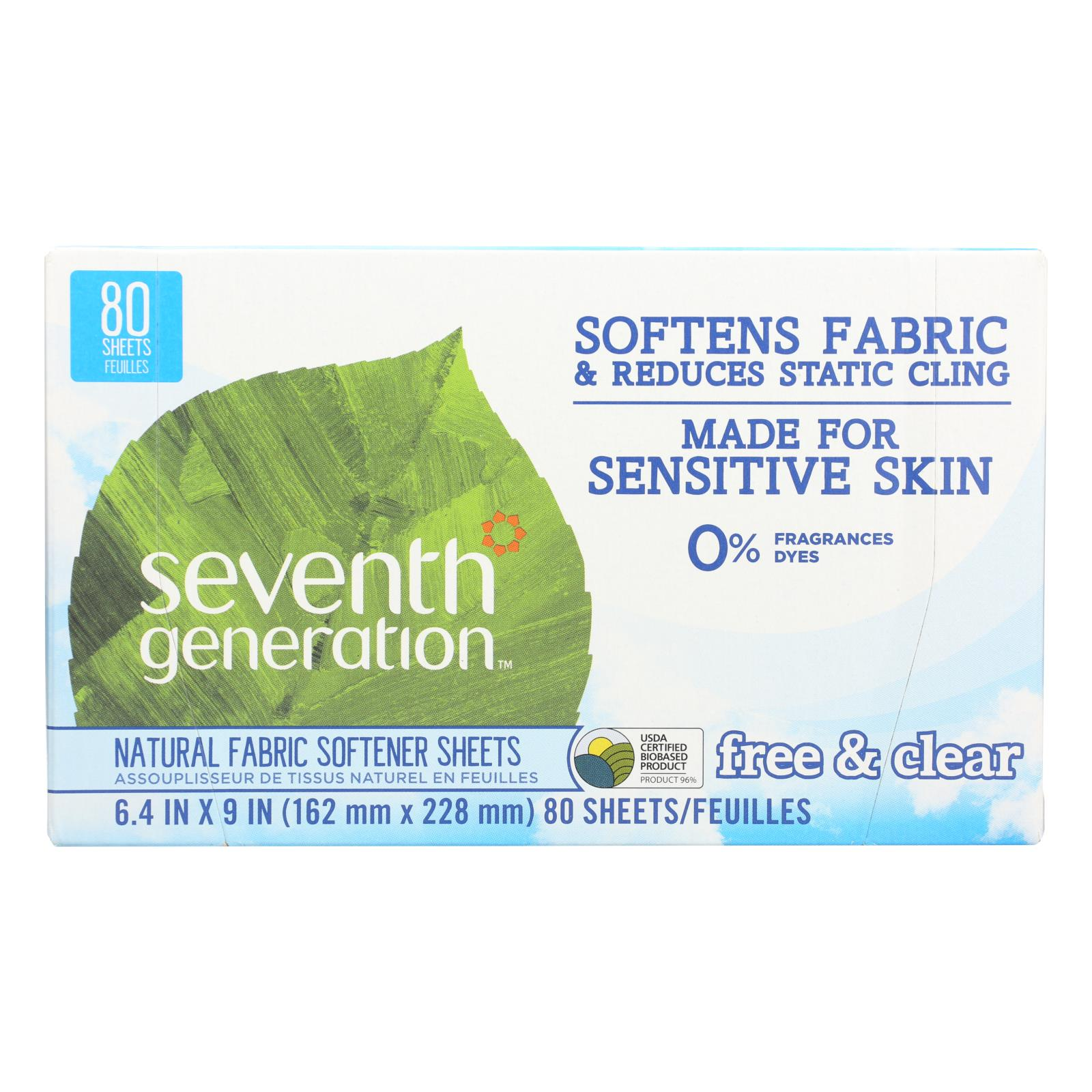 Seventh Generation Natural Fabric Softener Sheets - Free and Clear - Case of 12 - 80 Count