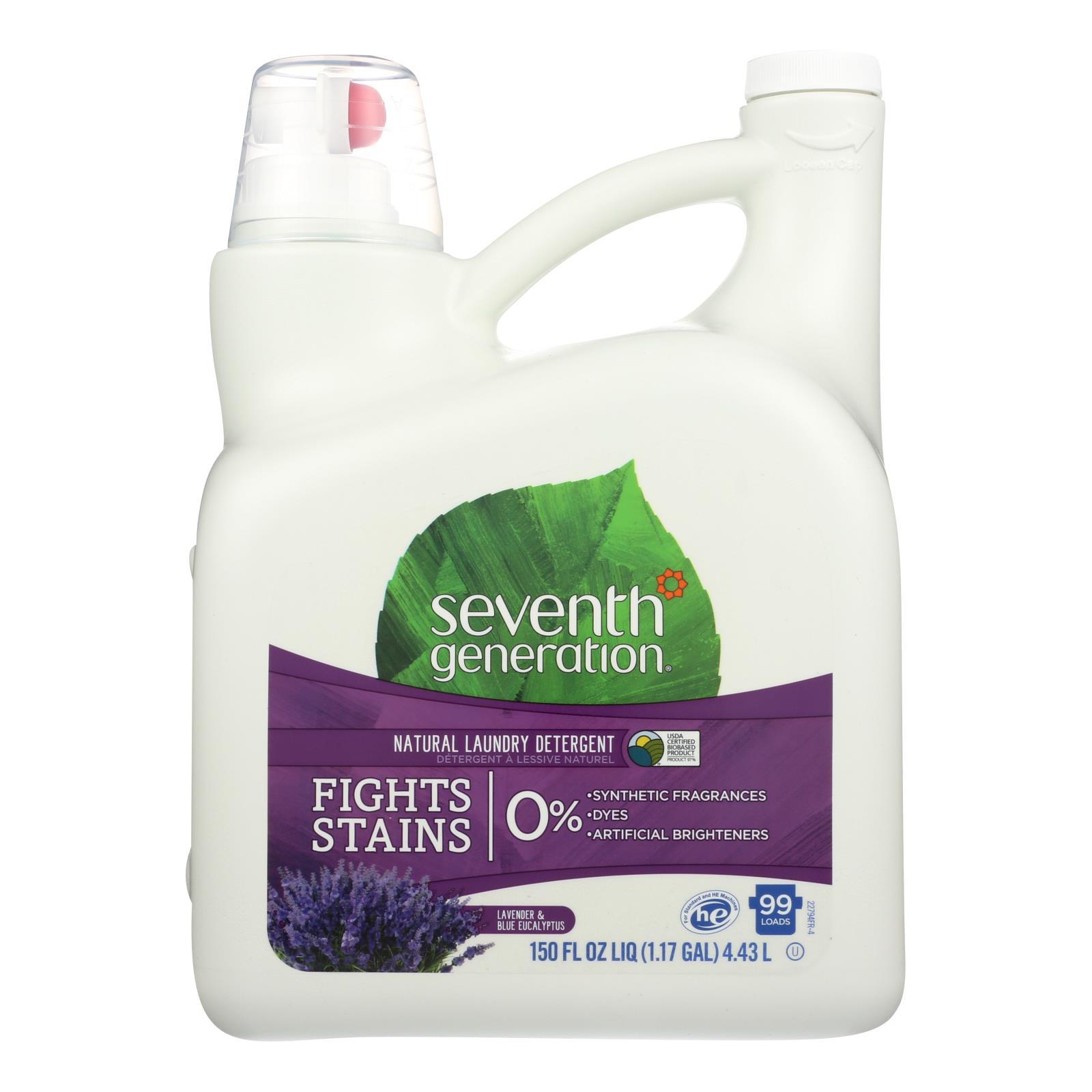 Seventh Generation Natural Laundry Detergent - Blue Eucalyptus and Lavender - Case of 4 - 150 Fl oz.