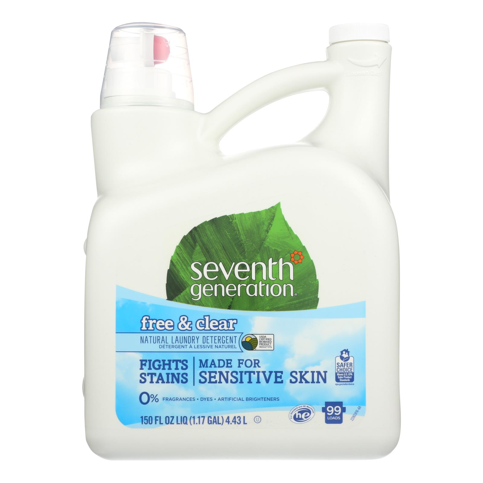 Seventh Generation Natural Laundry Detergent - Free and Clear - Case of 4 - 150 Fl oz.