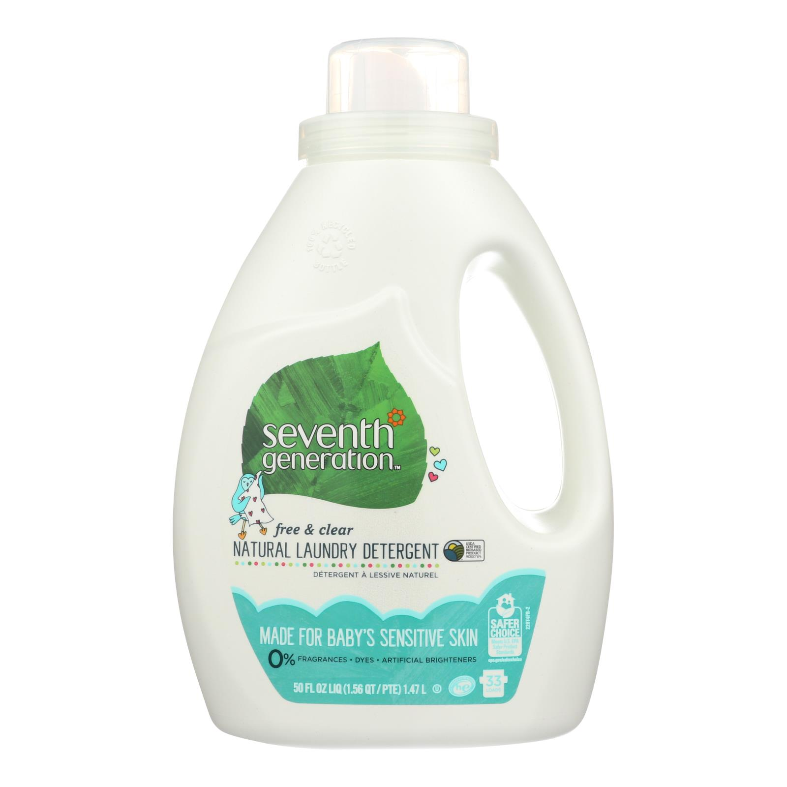 Seventh Generation - Liquid Laundry Detergent - Baby Free and Clear - Case of 6 - 50 fl oz.