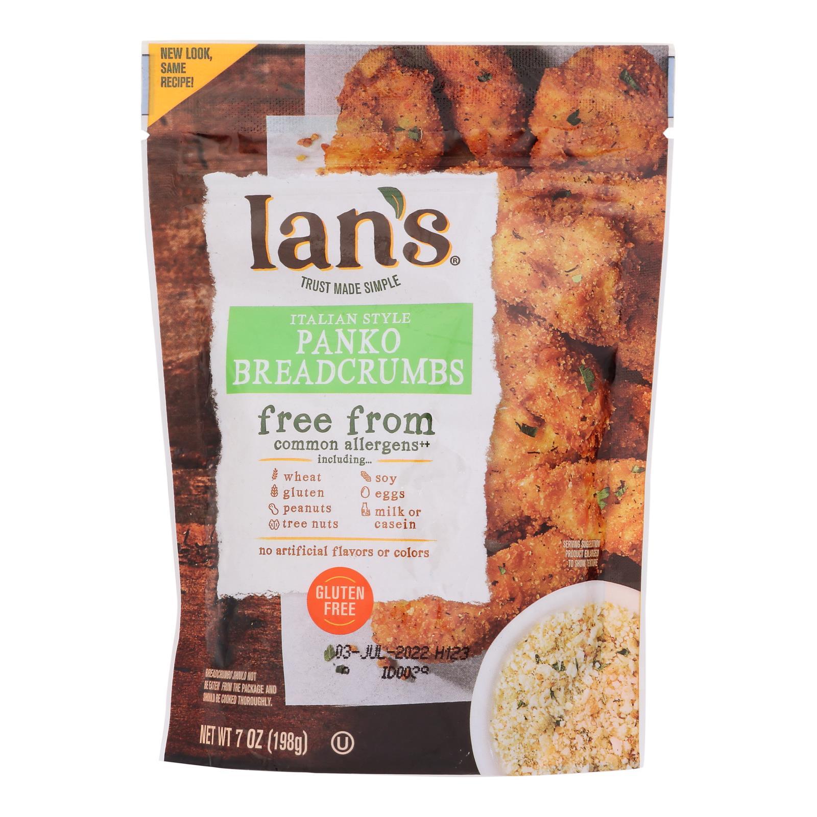 Ians Natural Foods Bread Crumbs - Panko - Italian Style - Gluten Free - 7 oz - case of 8