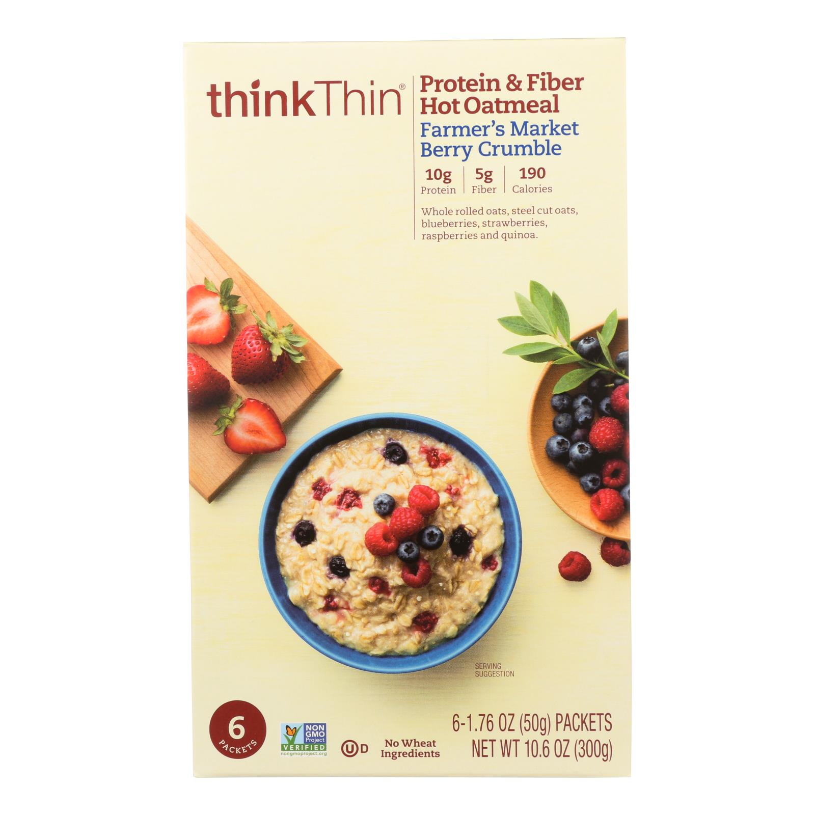 Thinkthin Berry Crumble Oatmeal  - Case of 6 - 10.6 OZ