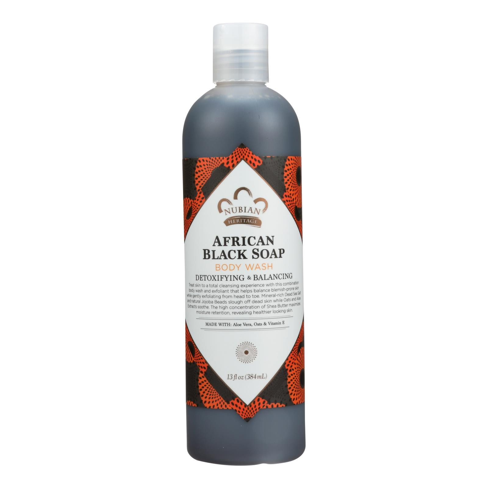 Nubian Heritage African Black Soap Body Wash and Scrub - 13 fl oz